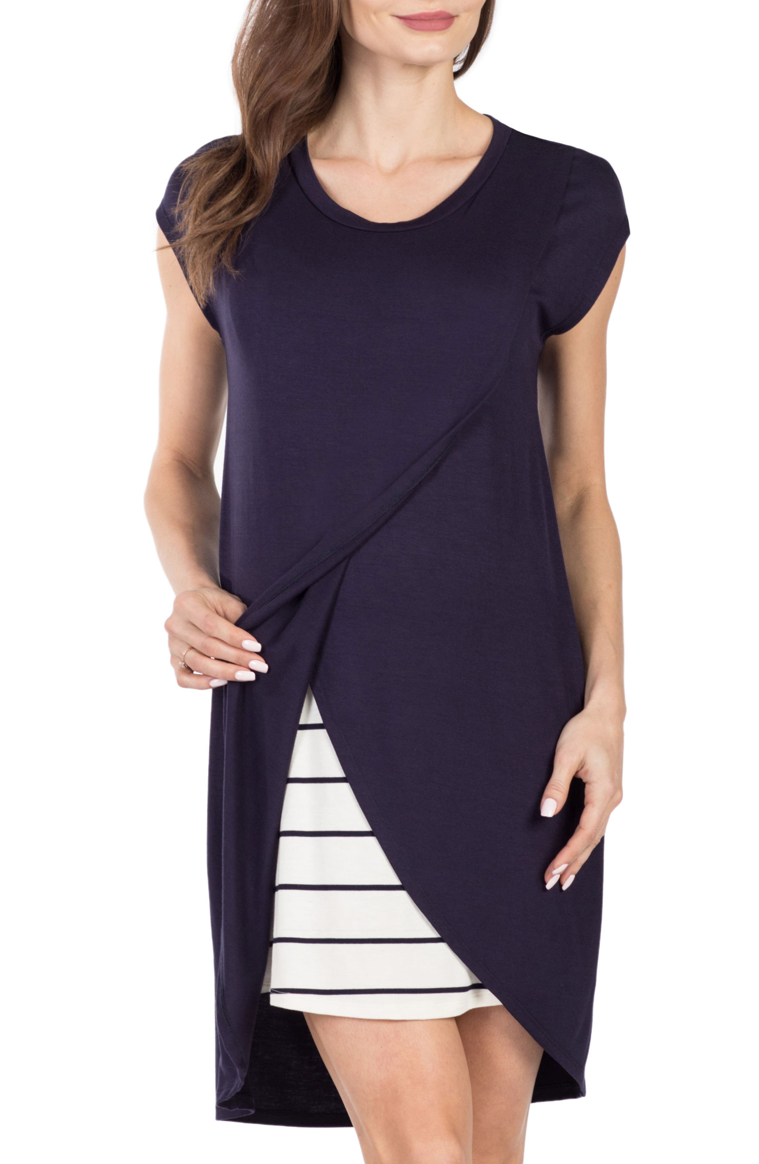 Lille Layered Maternity/Nursing Sheath Dress,                             Alternate thumbnail 3, color,                             NAVY/ WHITE STRIPE
