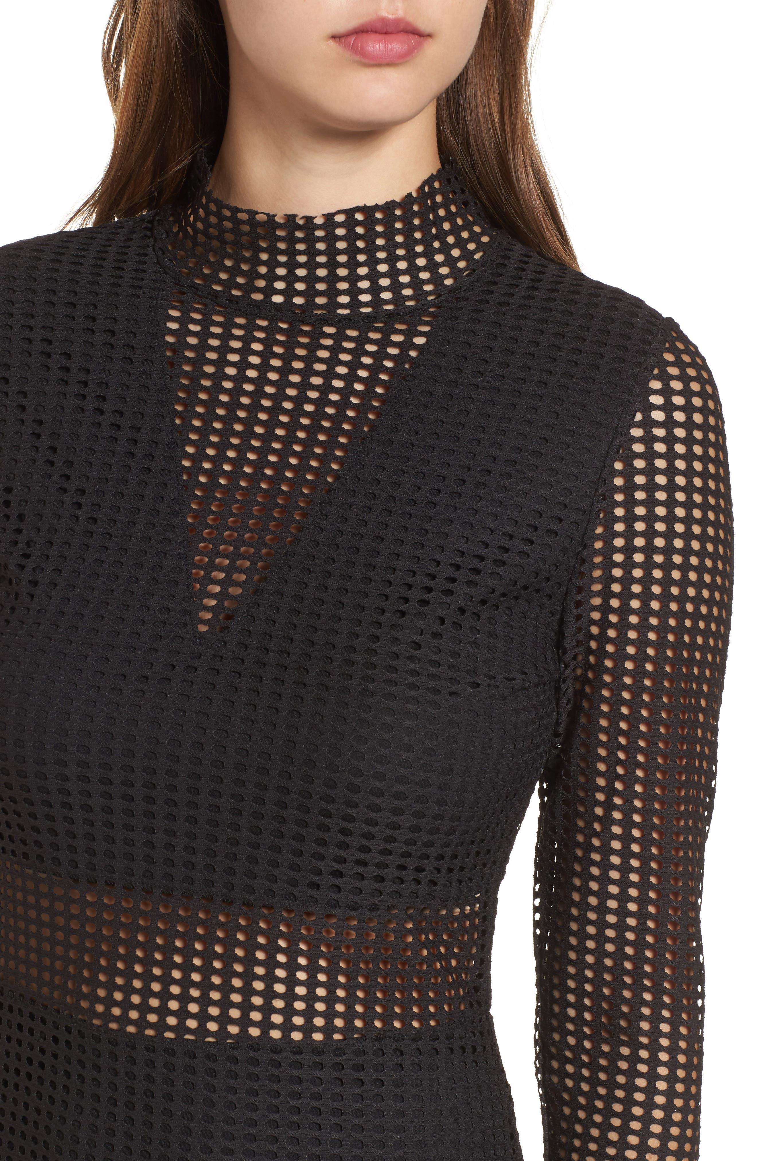 Laser Cut Body-Con Dress,                             Alternate thumbnail 4, color,                             001