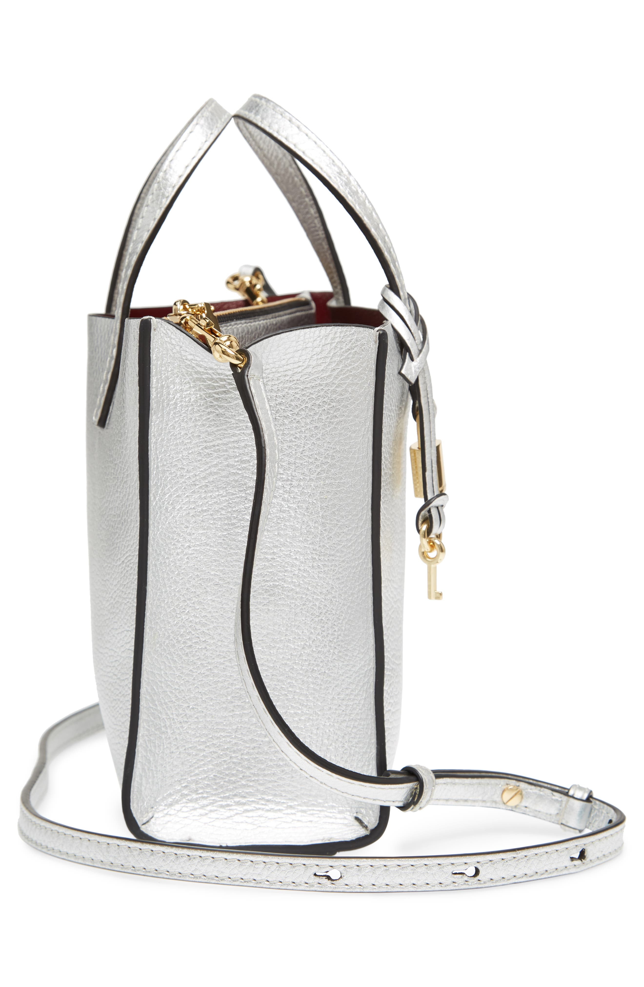 Mini The Grind Metallic Leather Tote,                             Alternate thumbnail 5, color,                             SILVER
