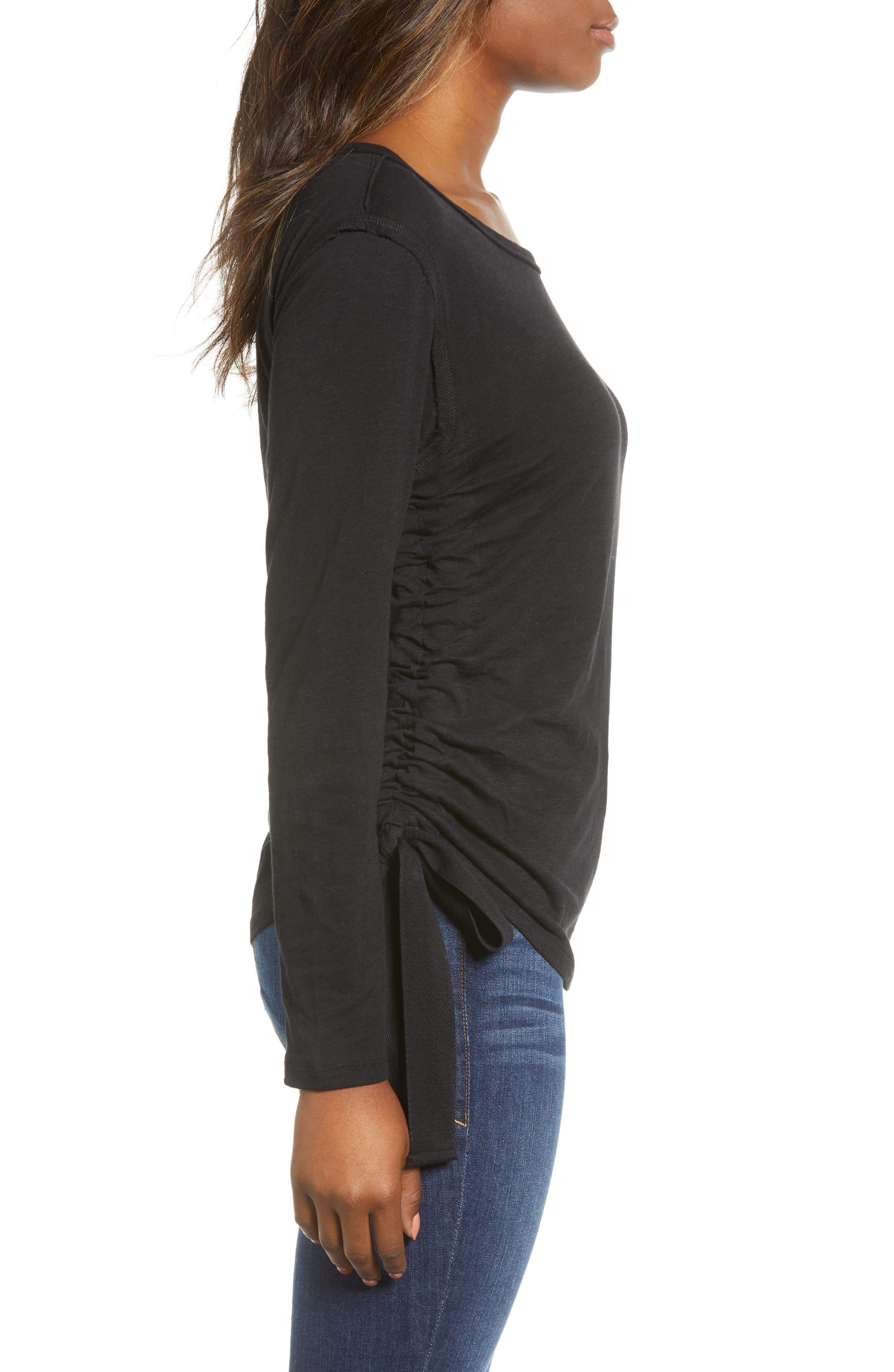 Side Shirred Top,                             Alternate thumbnail 3, color,                             001