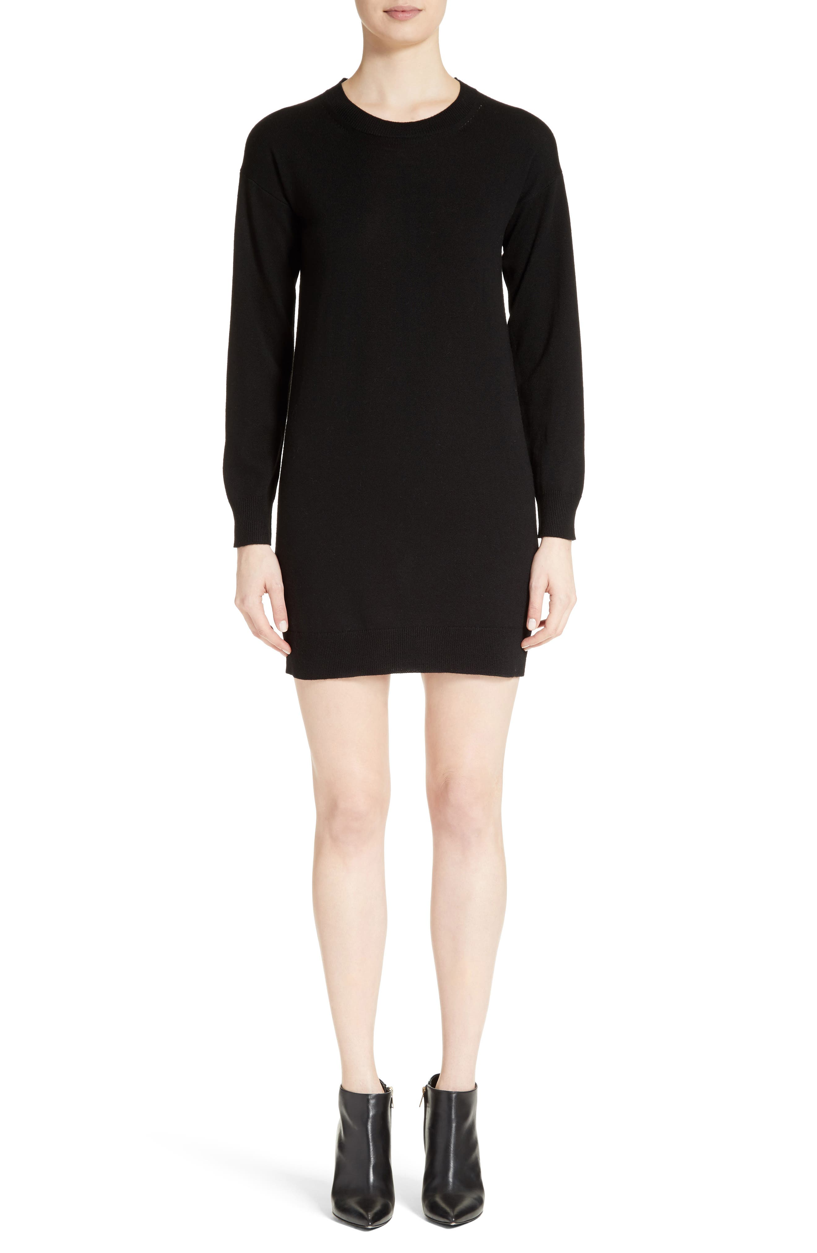 Alewater Elbow Patch Merino Wool Dress,                             Alternate thumbnail 2, color,                             BLACK