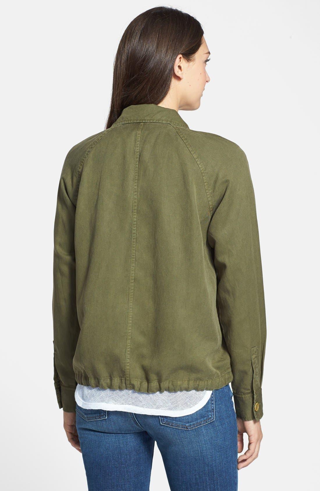 Tencel<sup>®</sup> & Linen Bomber Jacket,                             Alternate thumbnail 3, color,                             301