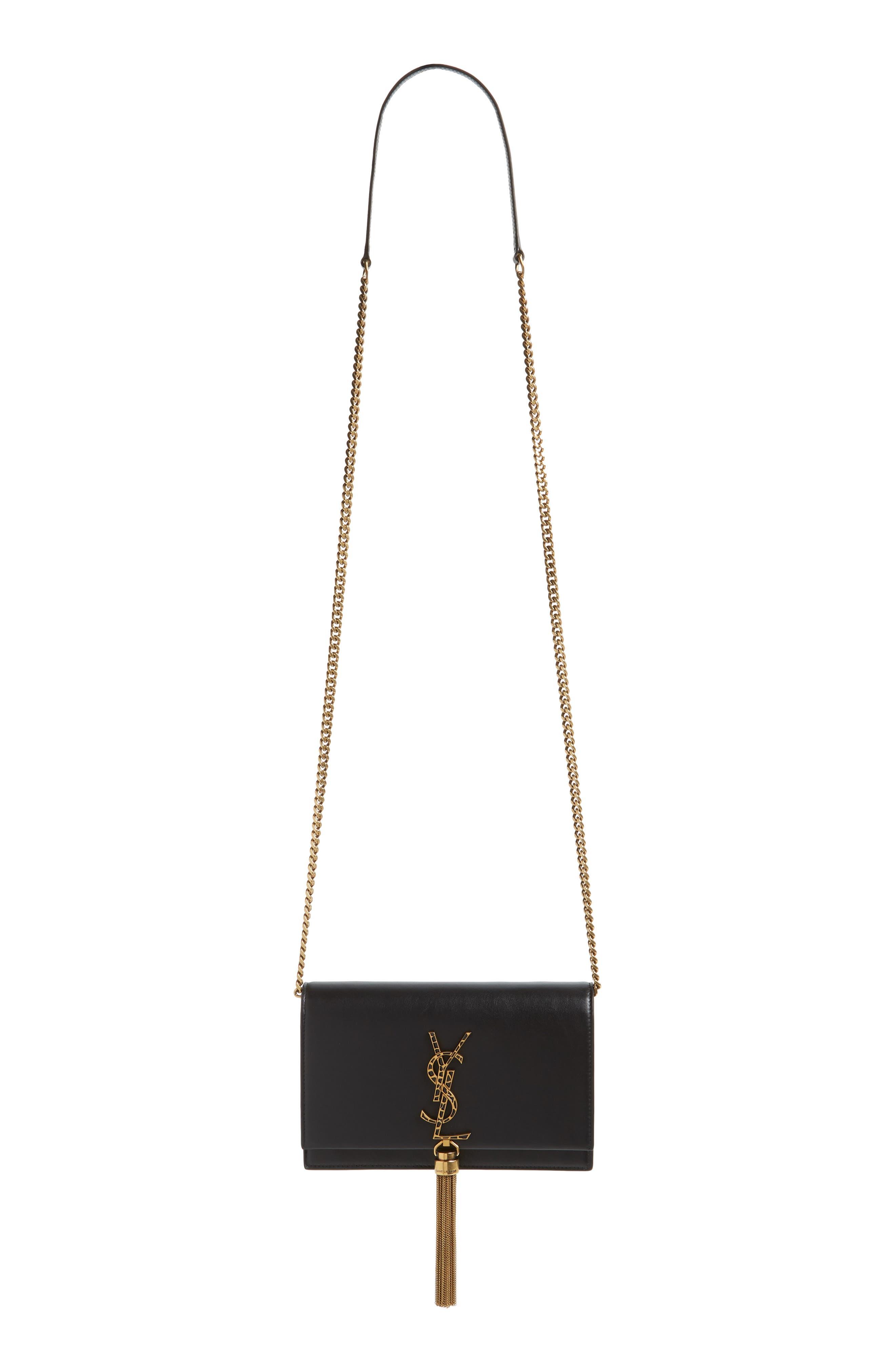 Kate Leopard Logo Wallet on a Chain,                             Alternate thumbnail 2, color,                             NOIR