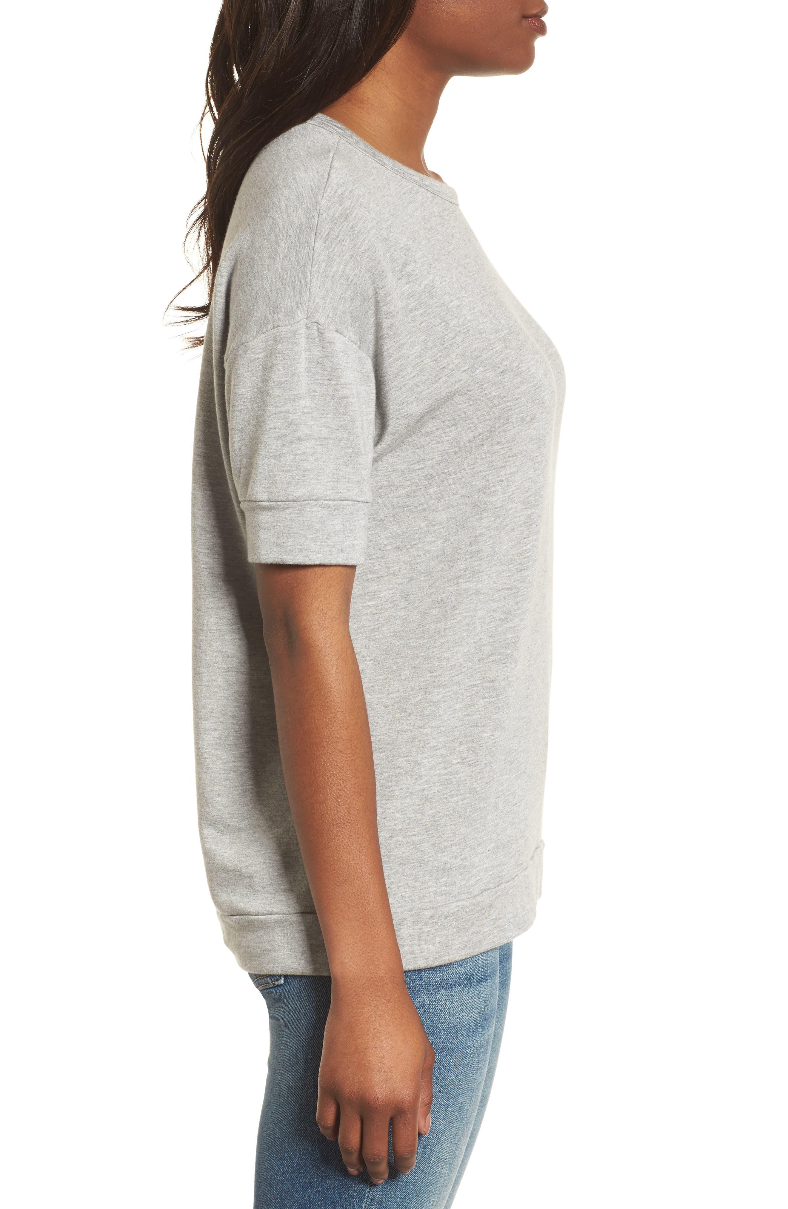 Short Sleeve Sweatshirt,                             Alternate thumbnail 3, color,                             050