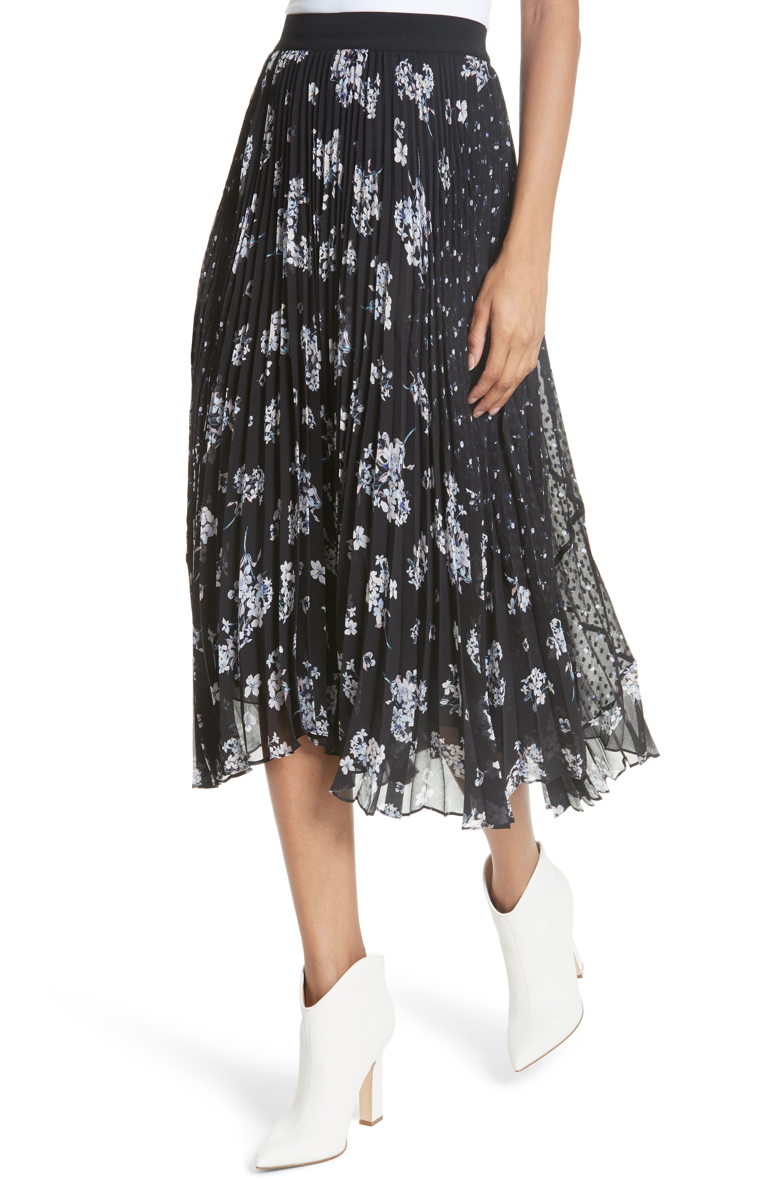 Pleated Hydrangea Skirt,                             Alternate thumbnail 4, color,                             BLACK COMBO