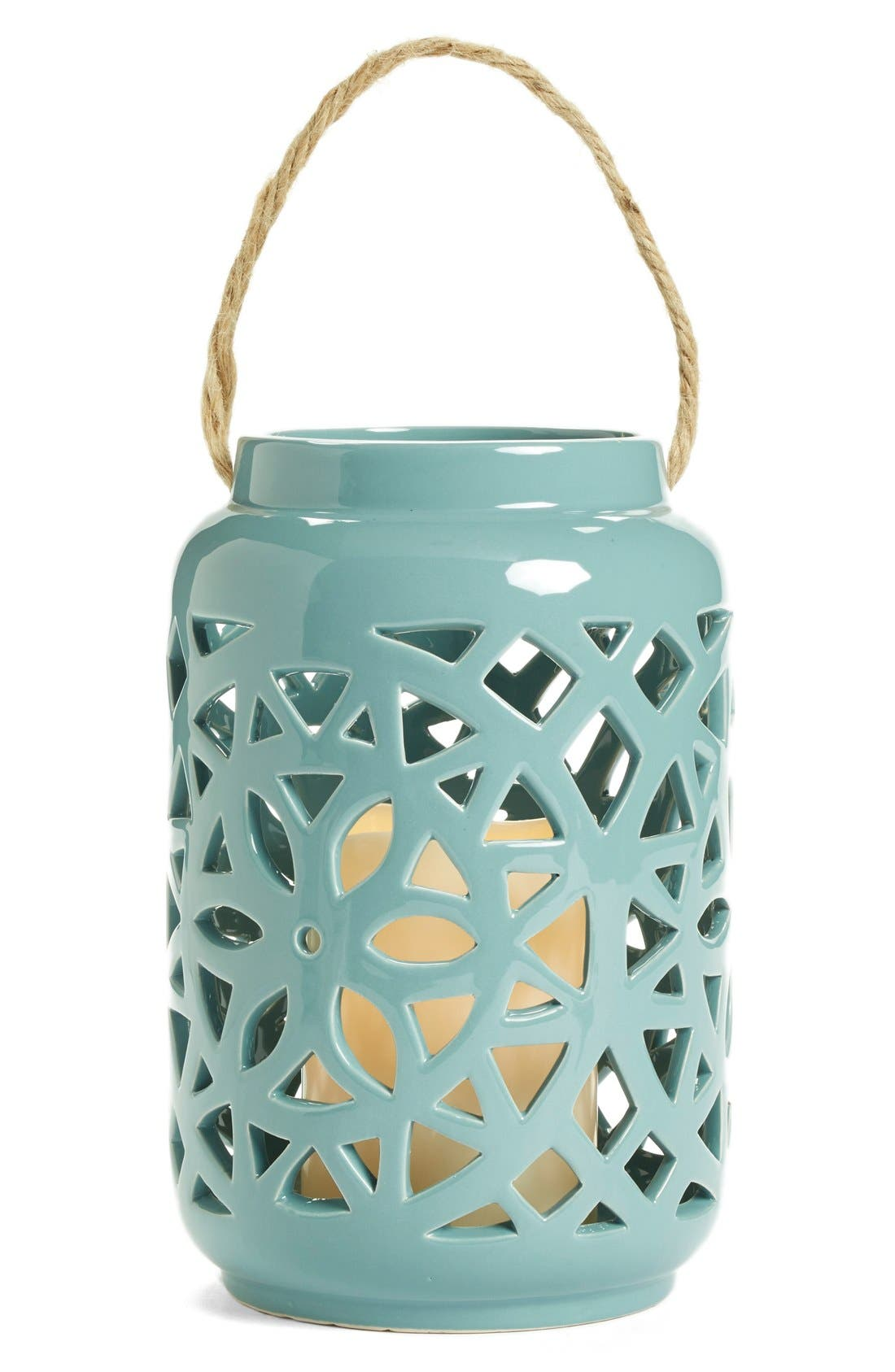 Ceramic Lantern & All-Weather Flameless Candle,                             Alternate thumbnail 4, color,