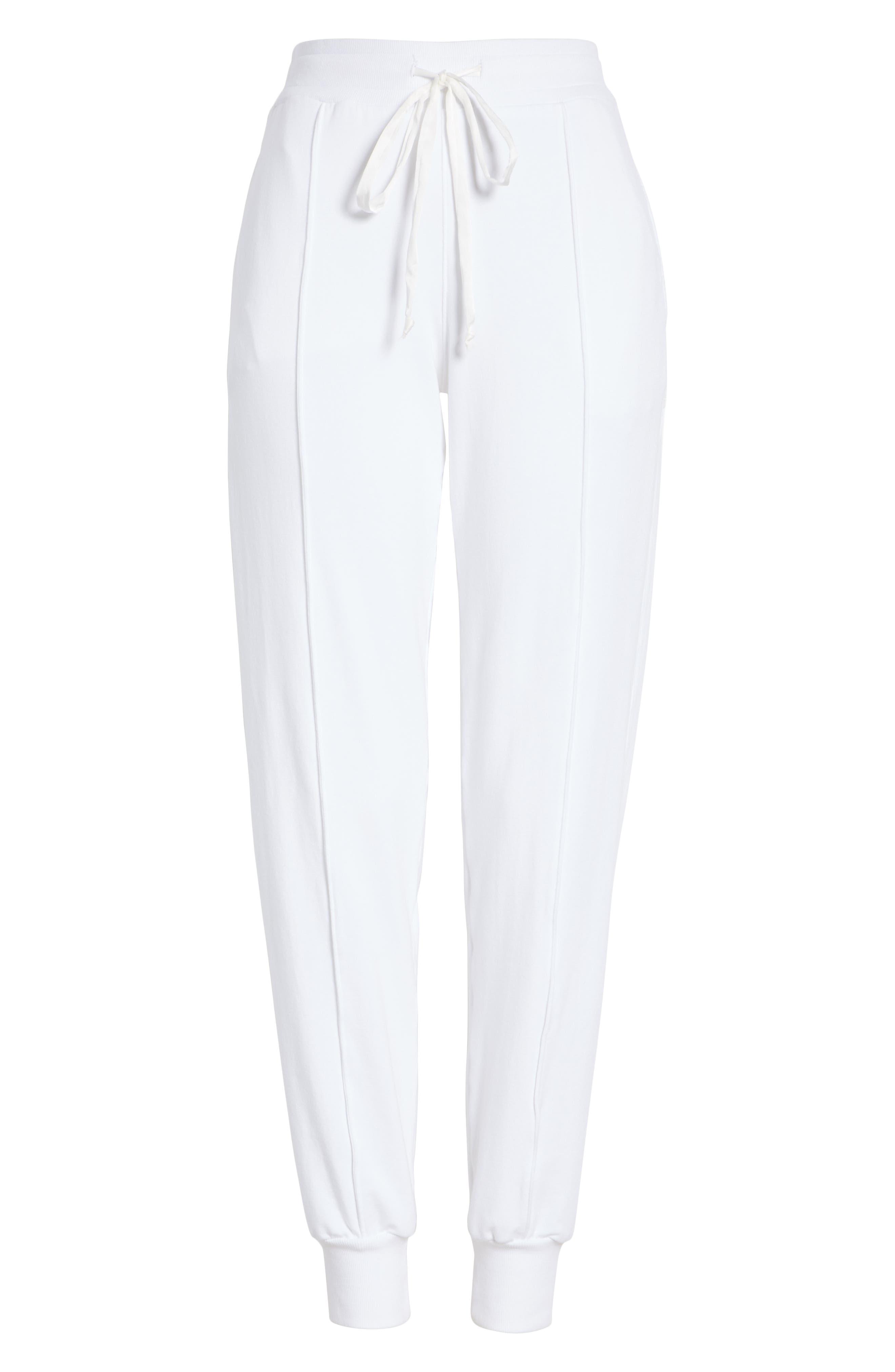 Sequin Cotton Blend Jogger Pants,                             Alternate thumbnail 6, color,                             WHITE