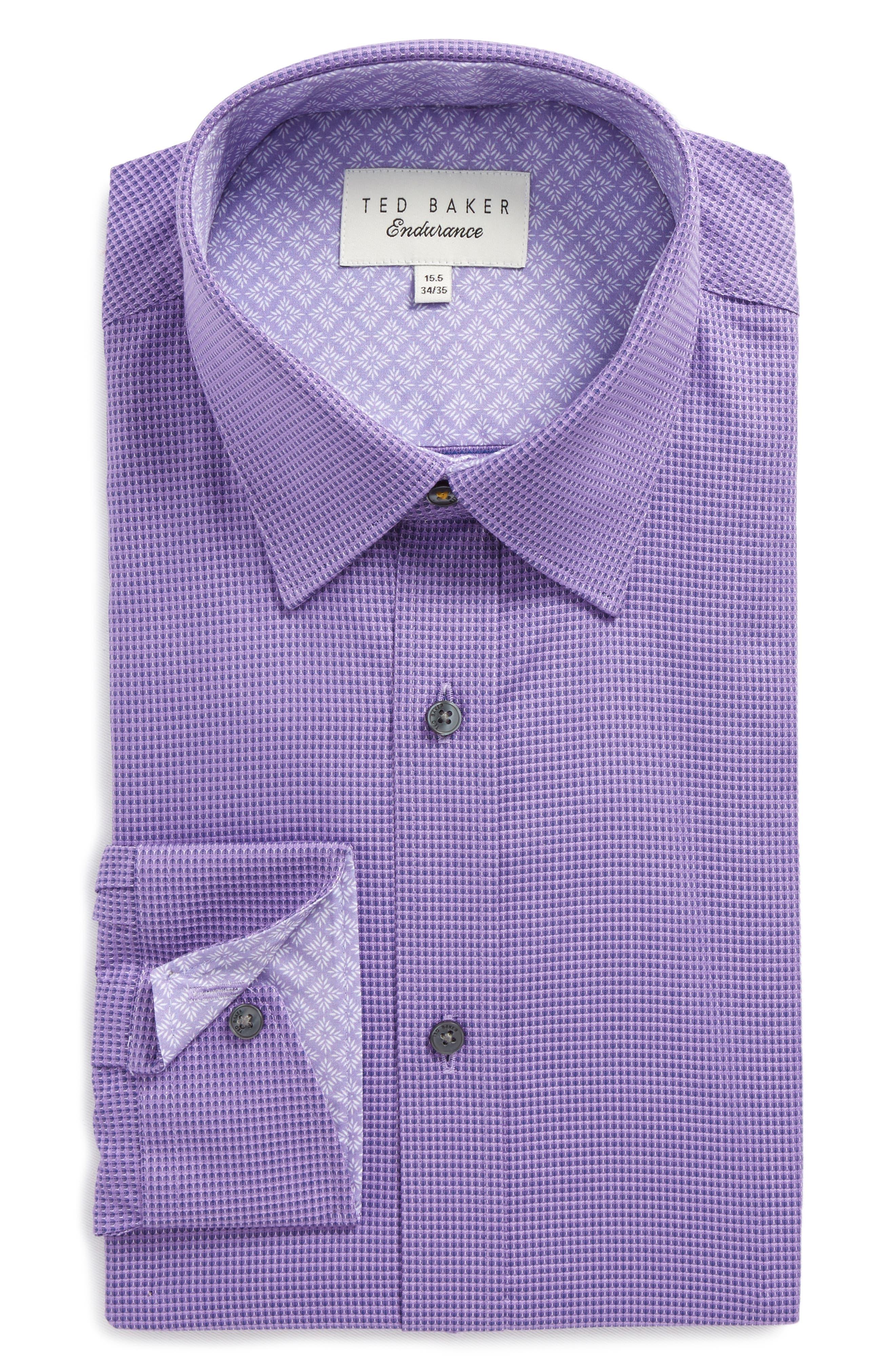 Endurance Dudders Trim Fit Dress Shirt,                         Main,                         color, PURPLE