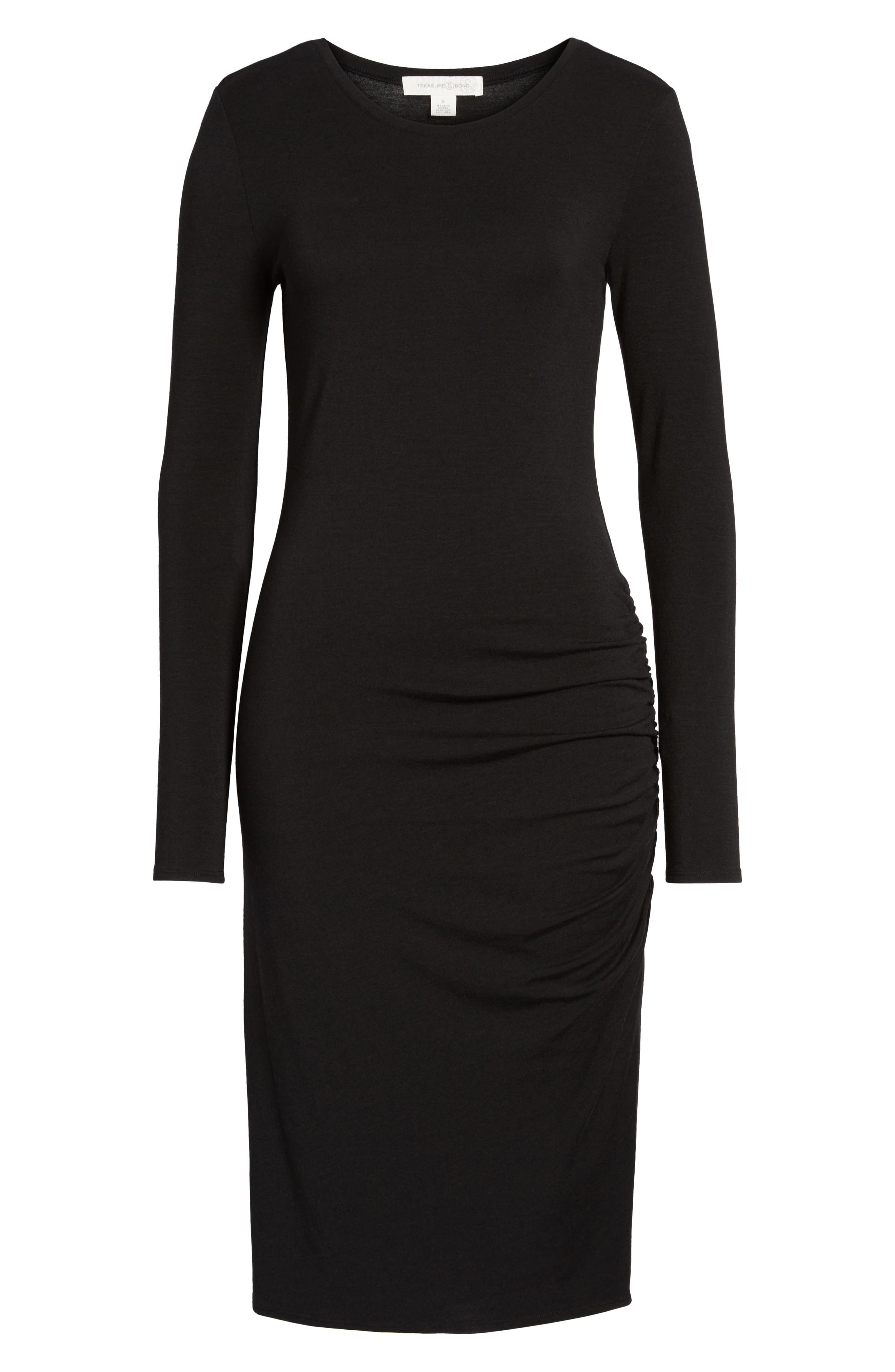 Side Ruched Knit Sheath Dress,                             Alternate thumbnail 6, color,                             001