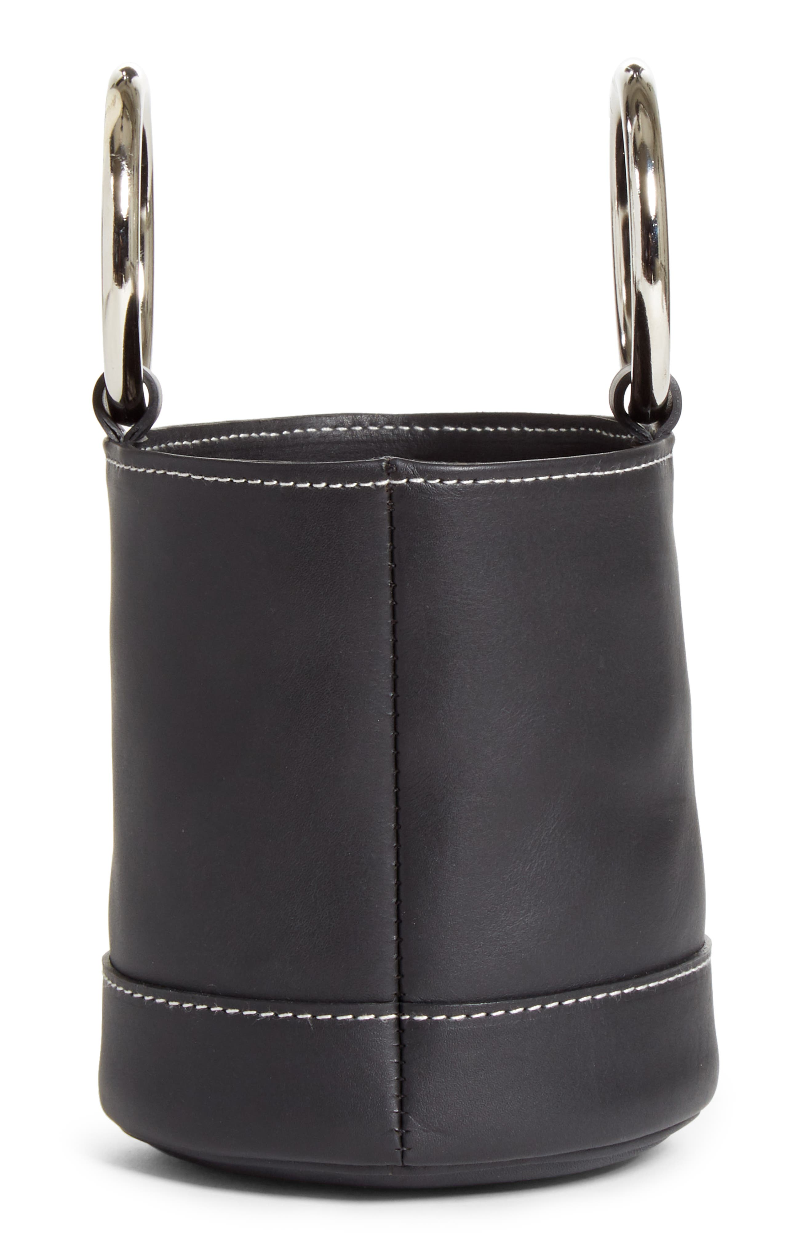 Bonsai 15 Calfskin Leather Bucket Bag,                             Alternate thumbnail 5, color,                             BLACK WITH WHITE STITCHING