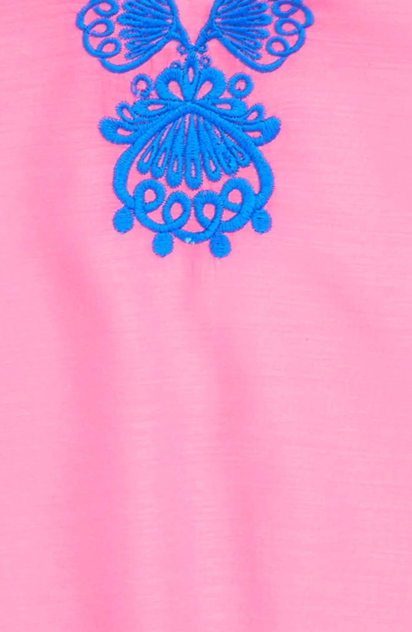 Mini Piet Cotton Cover-Up Dress,                             Alternate thumbnail 2, color,                             PINK SUNSET