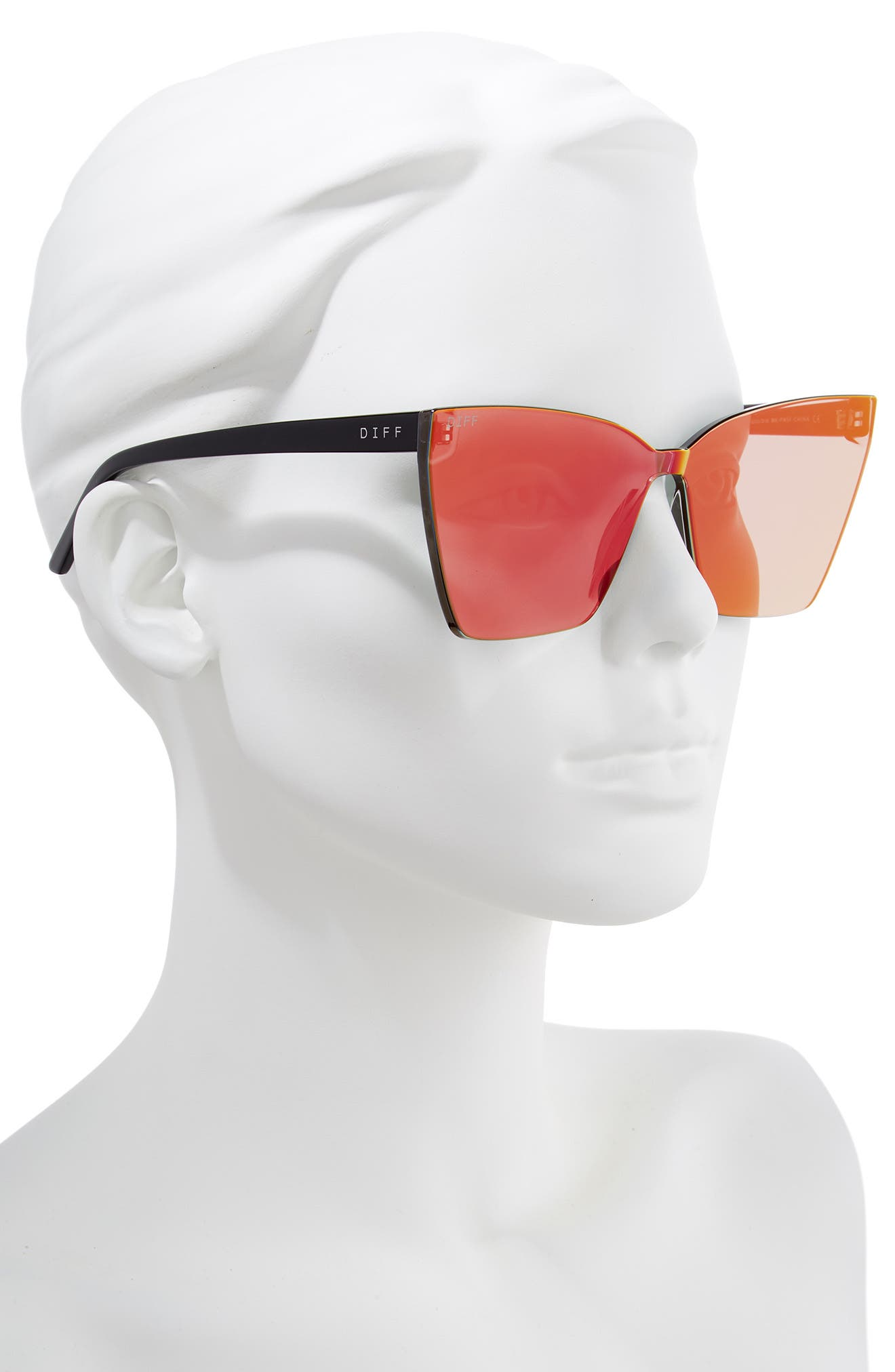 Goldie 65mm Rimless Butterfly Sunglasses,                             Alternate thumbnail 2, color,                             BLACK/ FIRE