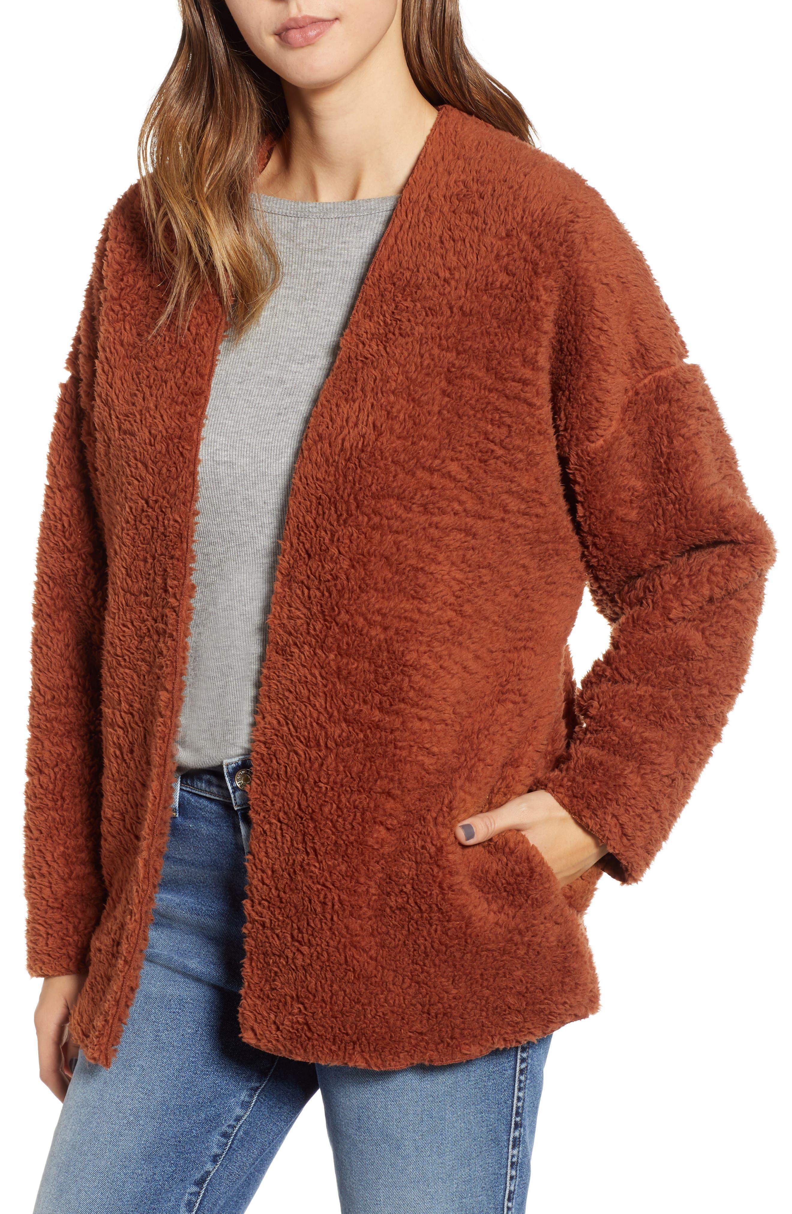 Socialite Cozy High Pile Fleece Jacket, Brown