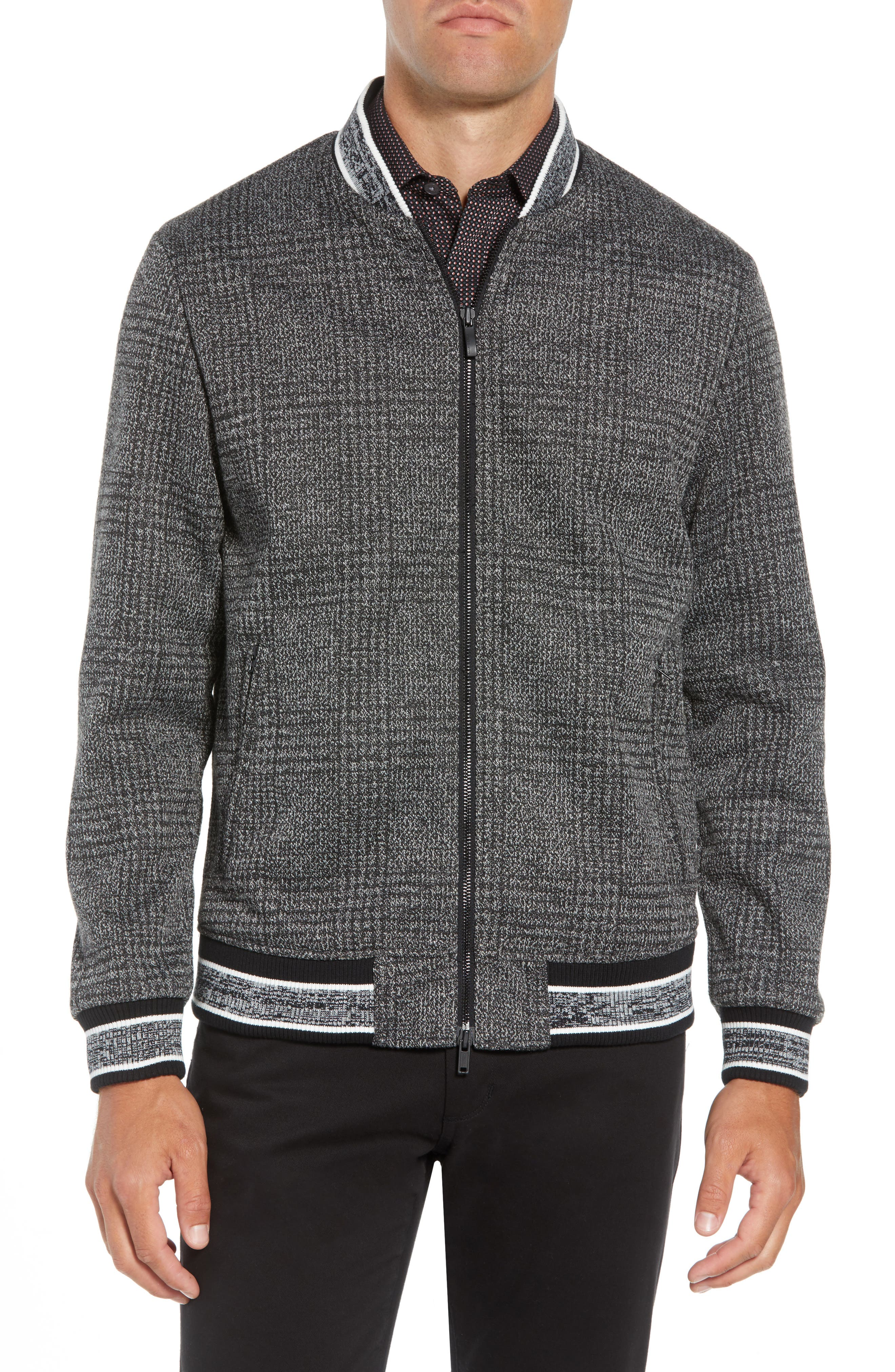 Slim Fit Plaid Knit Bomber Jacket,                             Alternate thumbnail 4, color,                             CHARCOAL PLAID