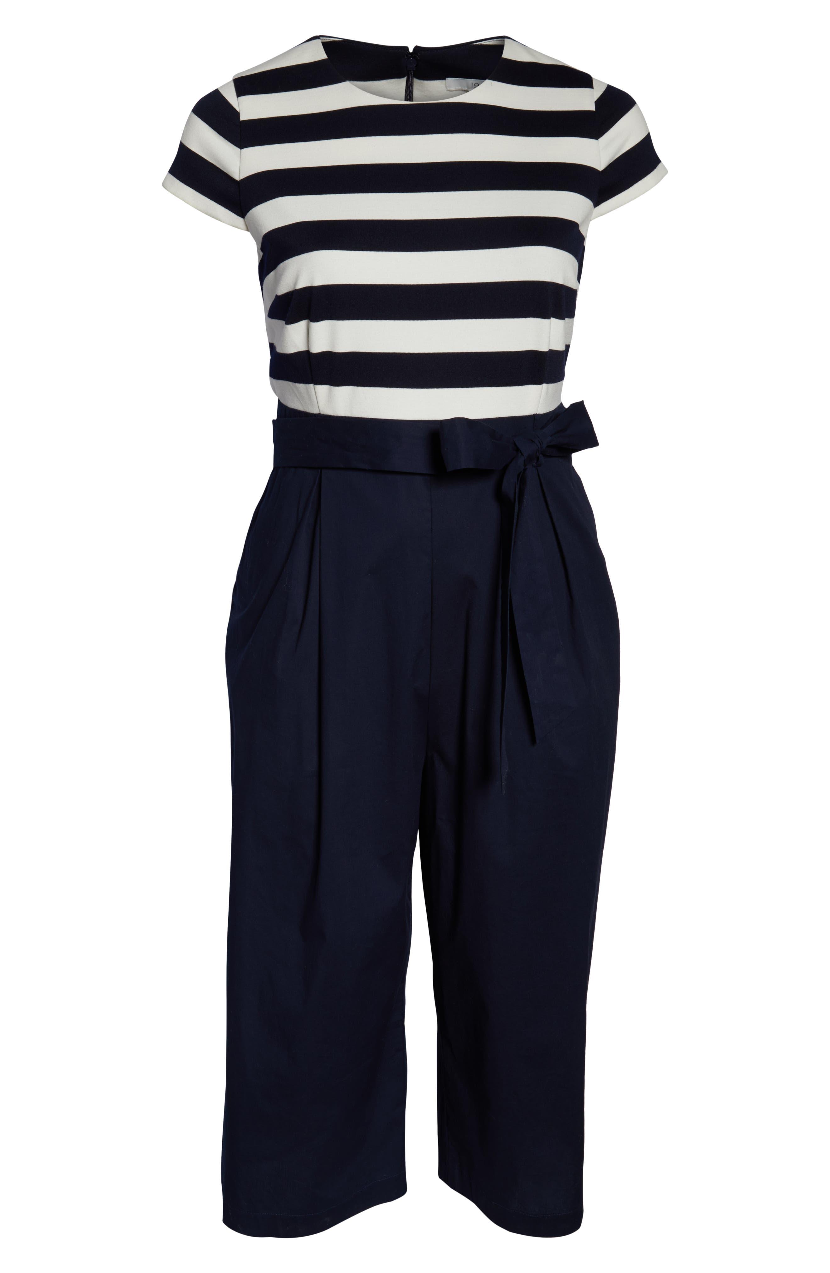 1901,                             Stripe Ponte Crop Jumpsuit,                             Alternate thumbnail 7, color,                             BLUE WHITE STRIPE