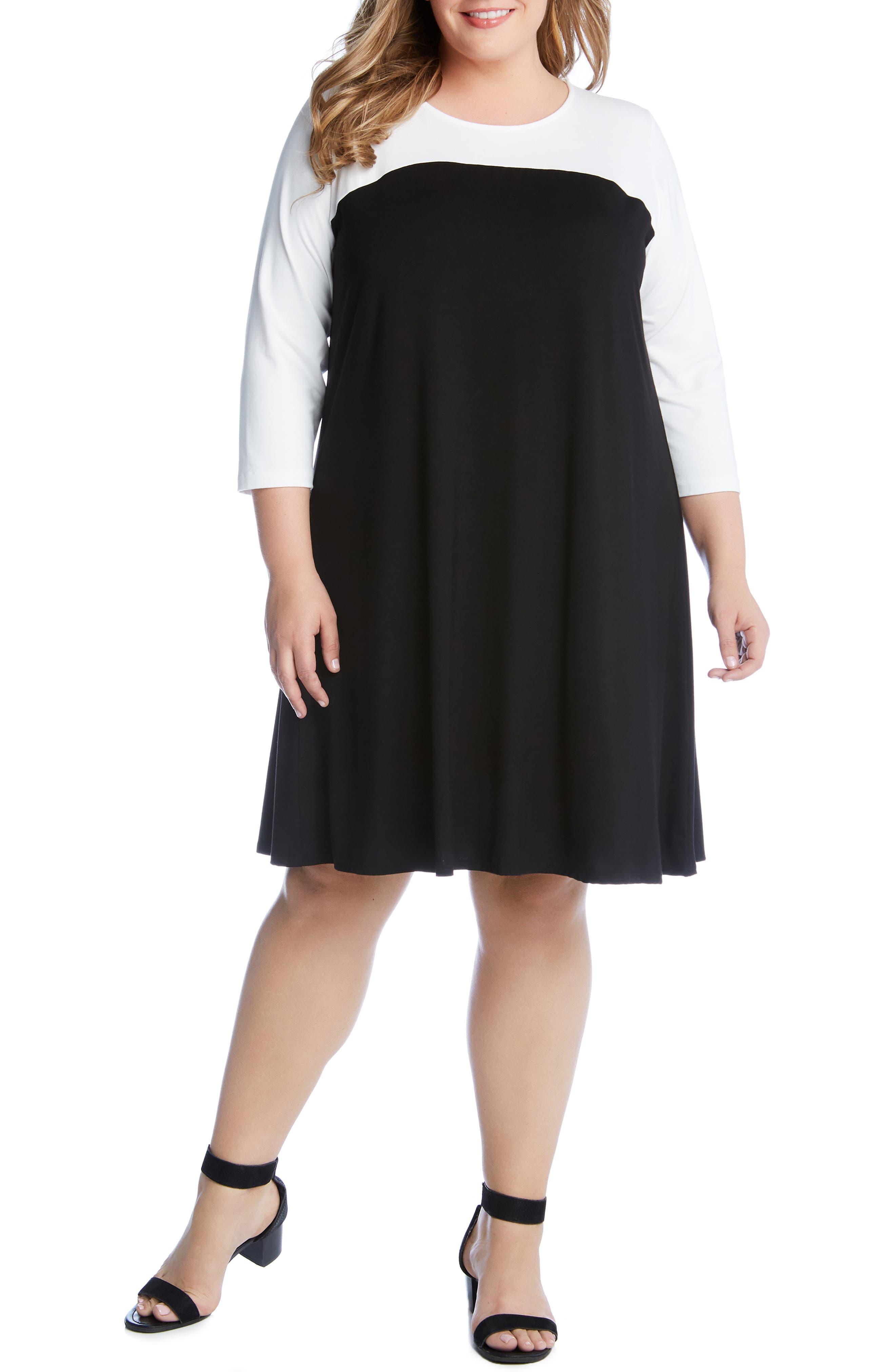 Plus Size Karen Kane Colorblock Dress, Black