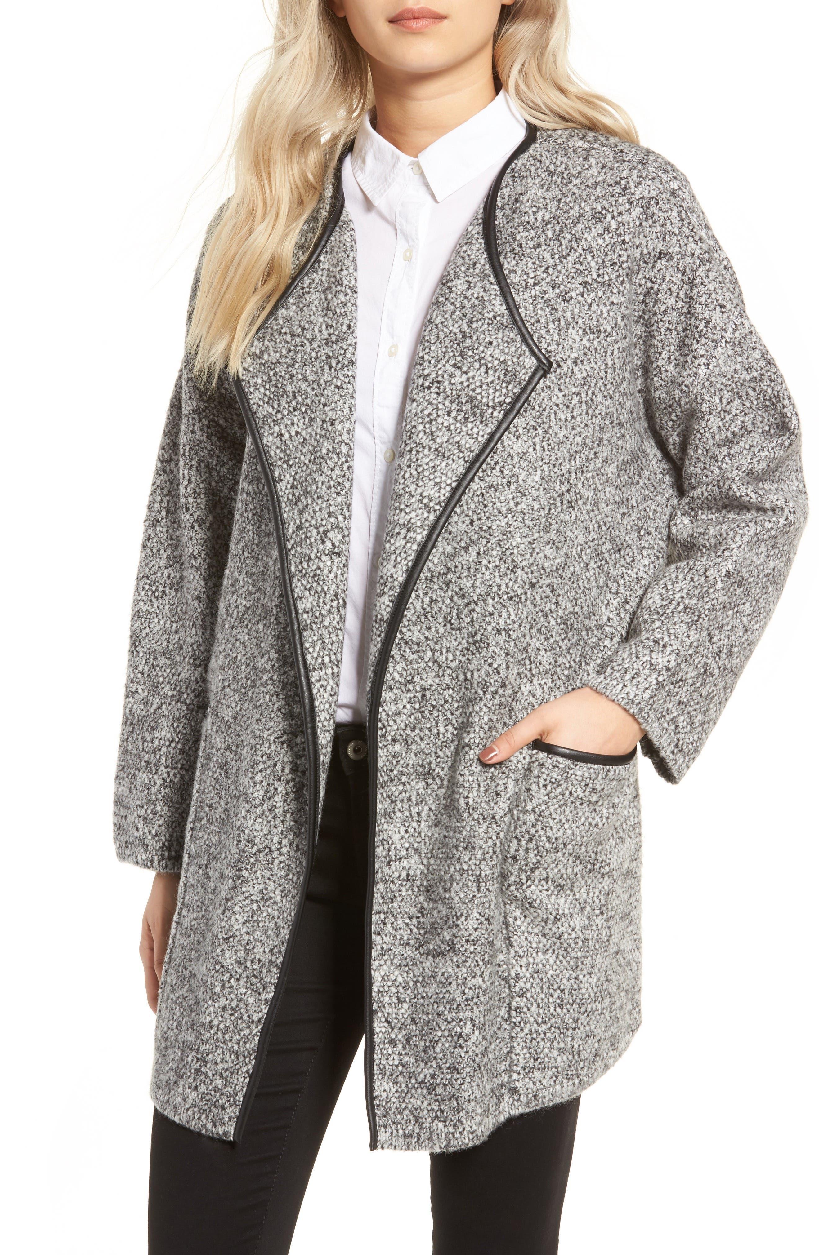 ASTR THE LABEL ASTR Drape Front Sweater Jacket, Main, color, 001