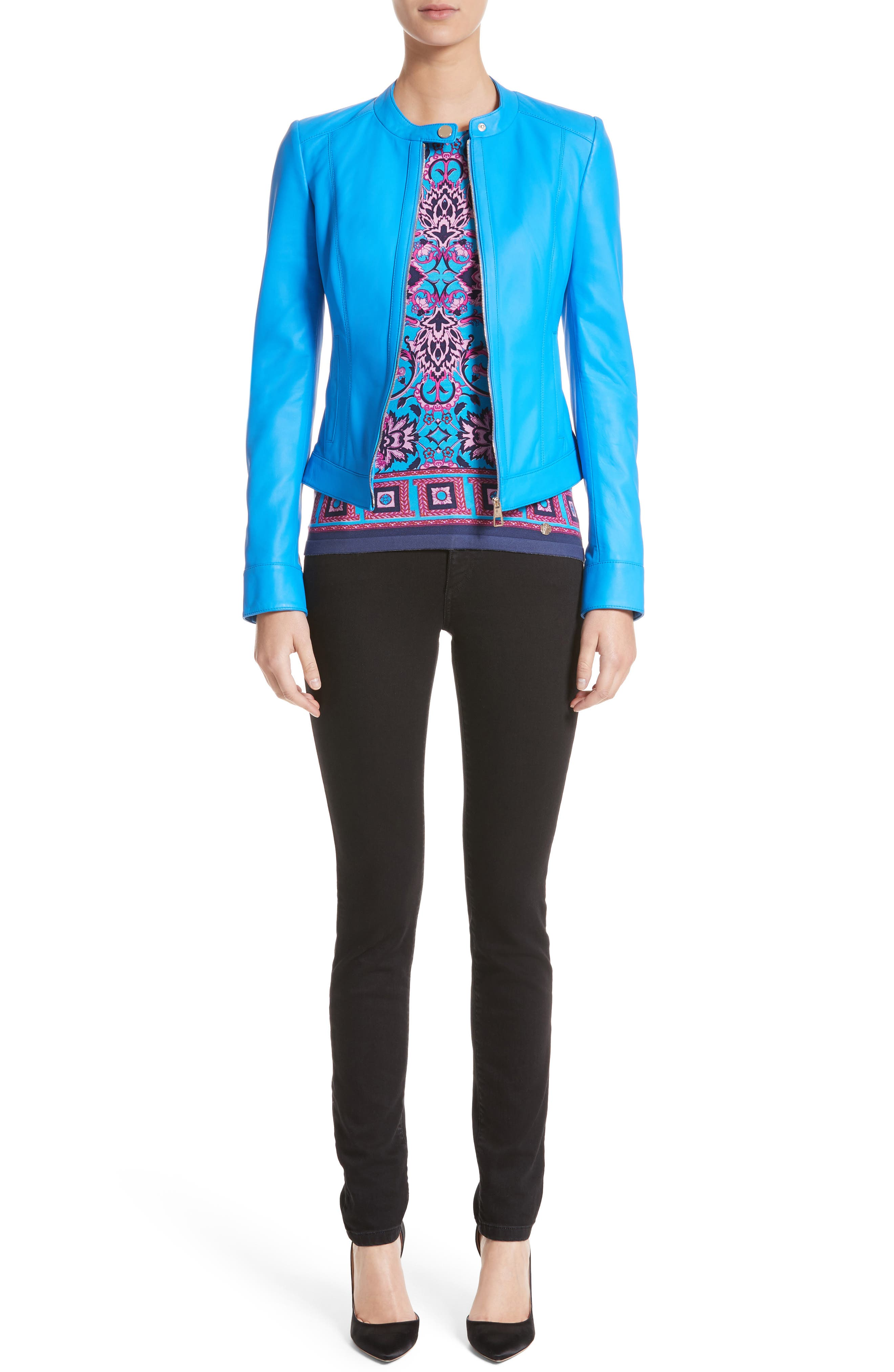 Nappa Leather Jacket,                             Alternate thumbnail 7, color,
