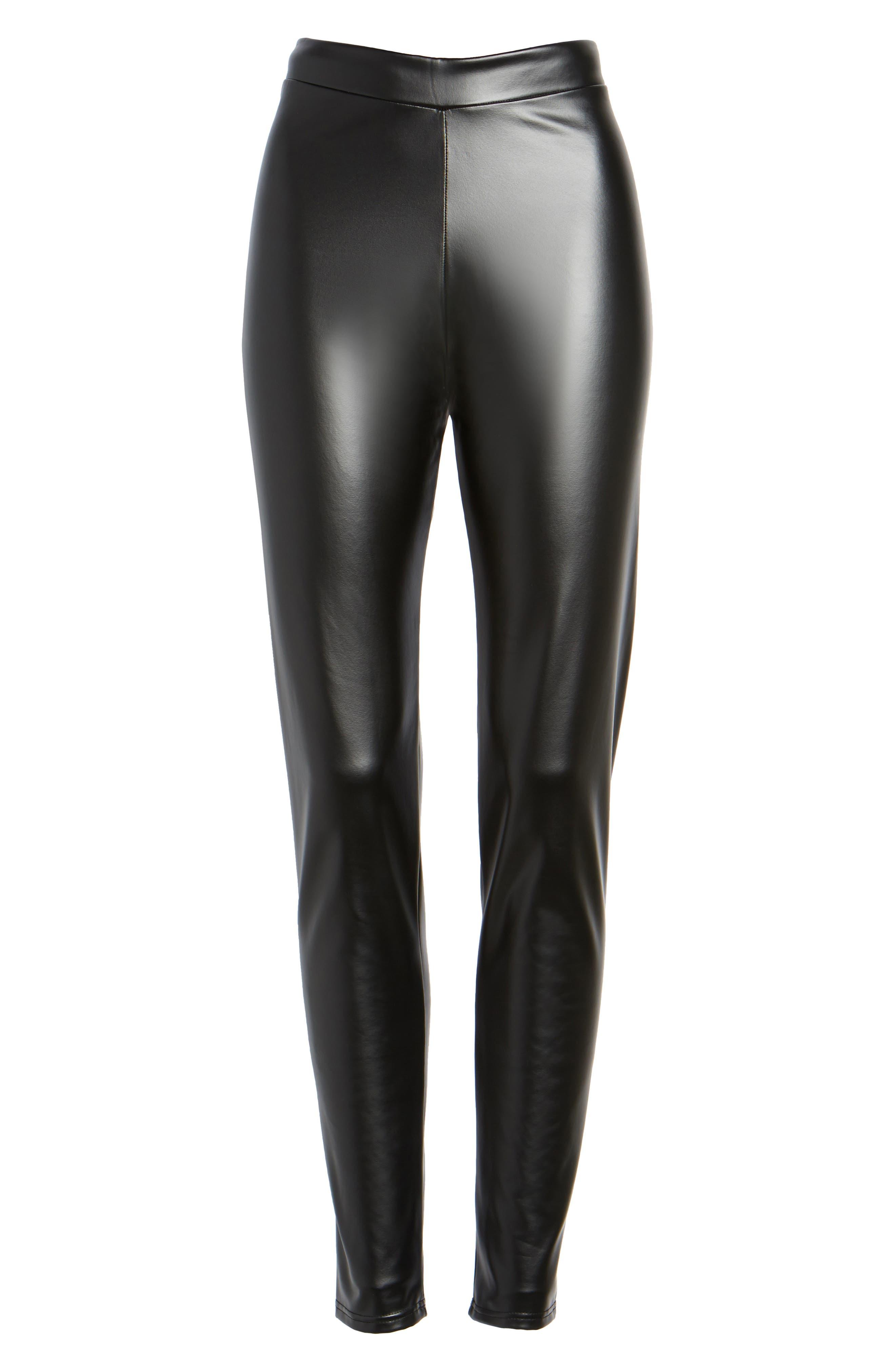 Plush Lined Faux Leather Leggings,                             Alternate thumbnail 6, color,                             001