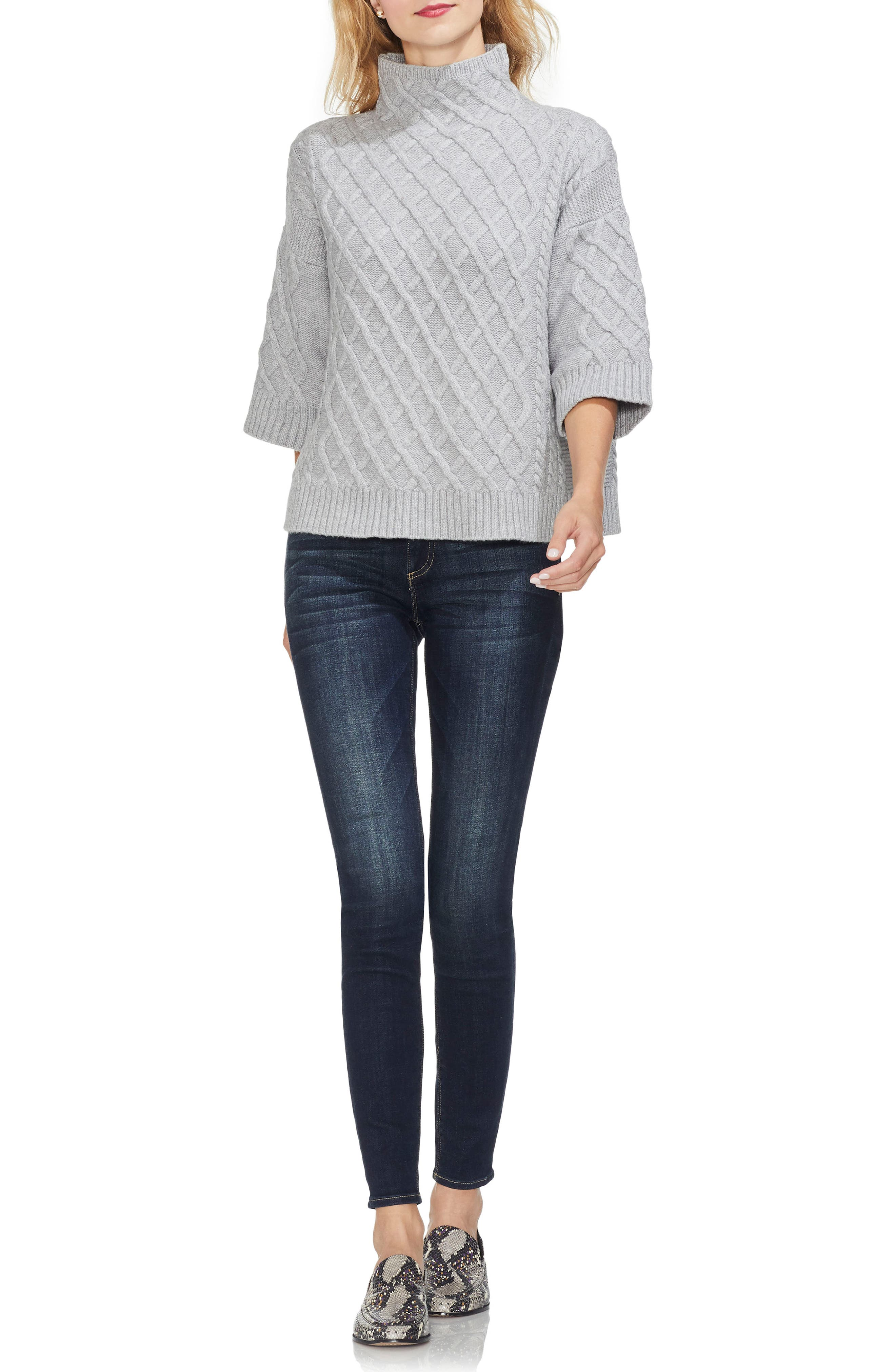 Cable Stitch Funnel Neck Sweater,                             Alternate thumbnail 3, color,                             078