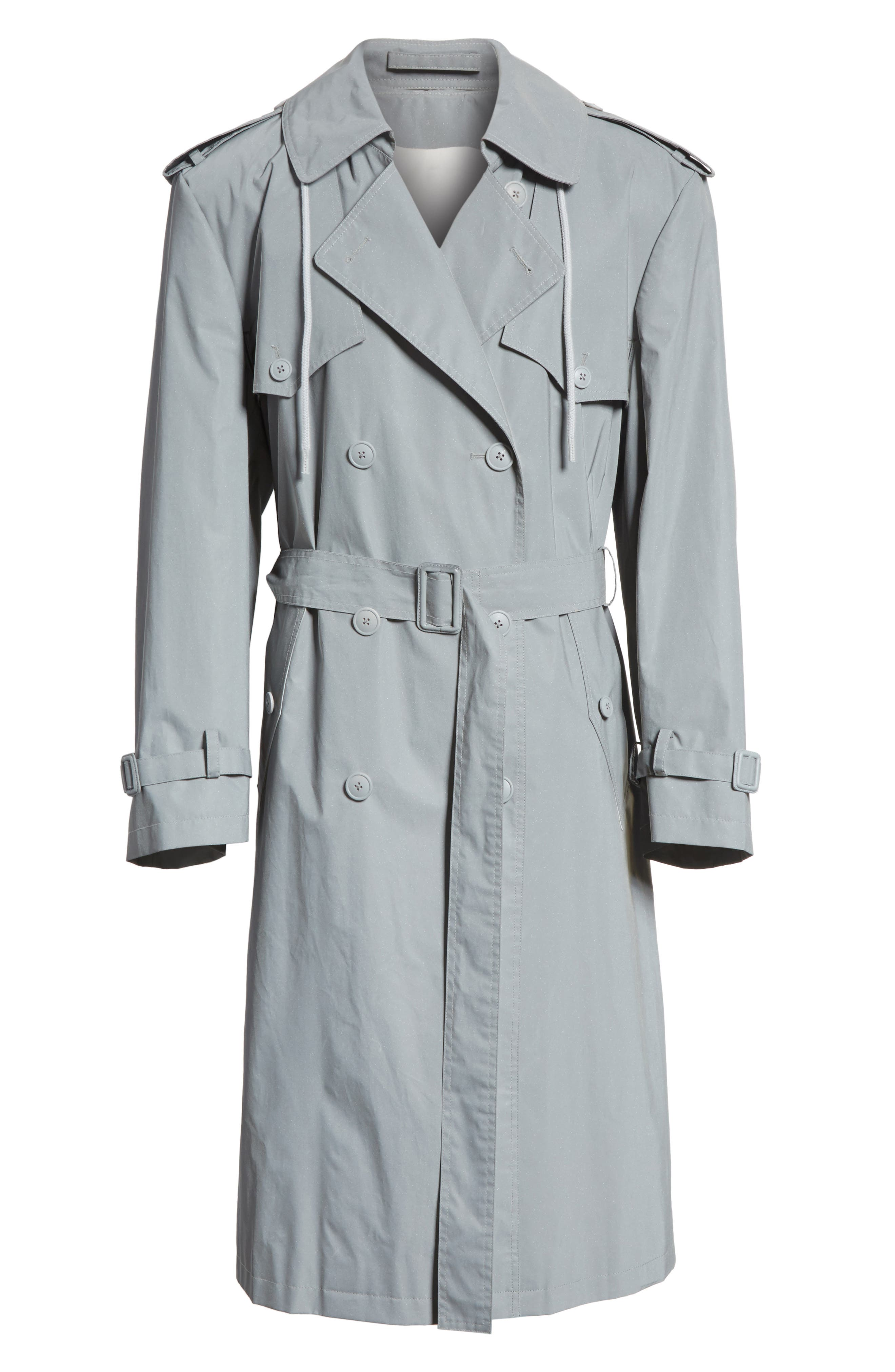 Reflective Hooded Trench Coat,                             Alternate thumbnail 6, color,