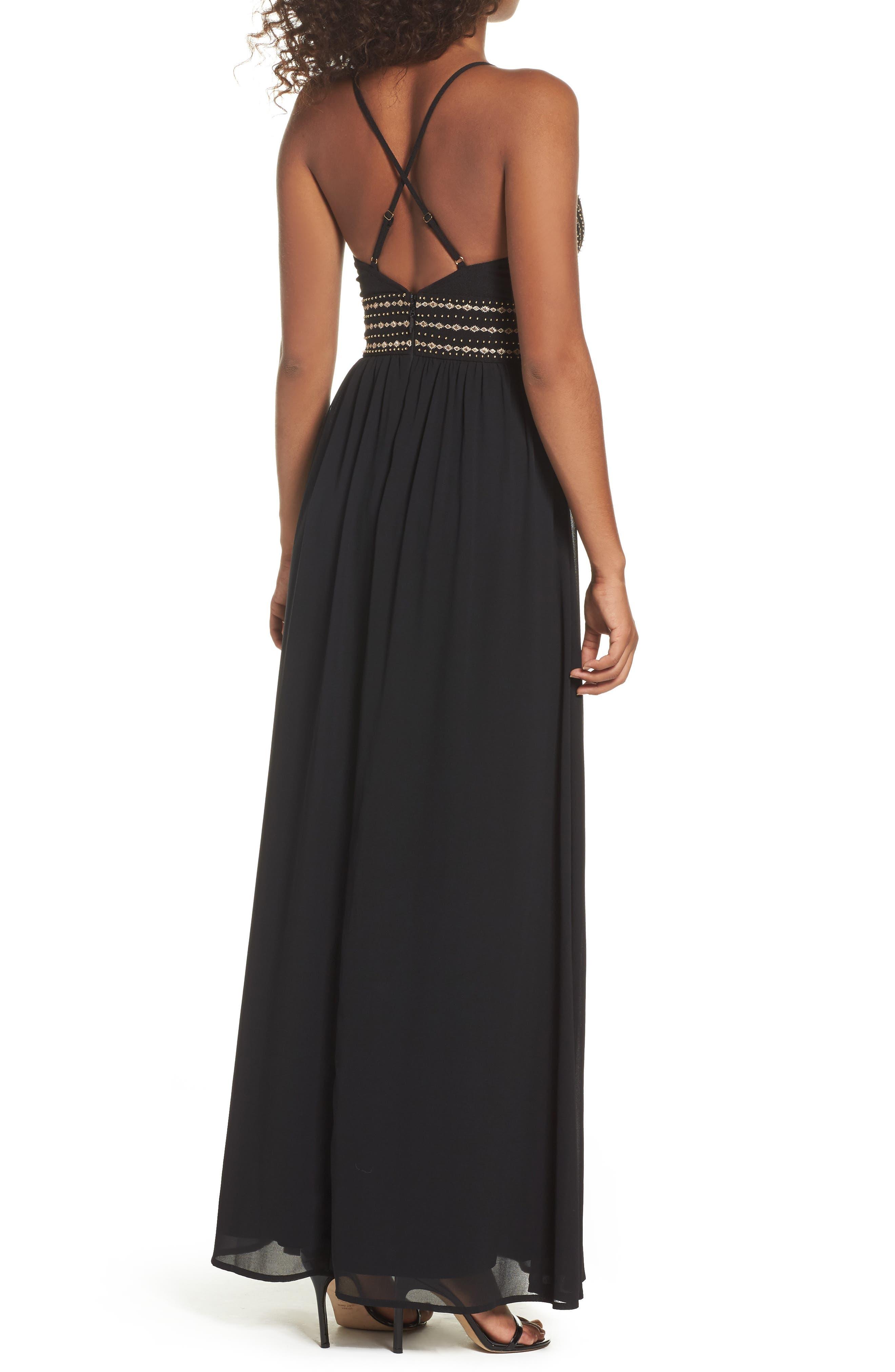 Glamorous Gala Embellished Maxi Dress,                             Alternate thumbnail 2, color,                             BLACK