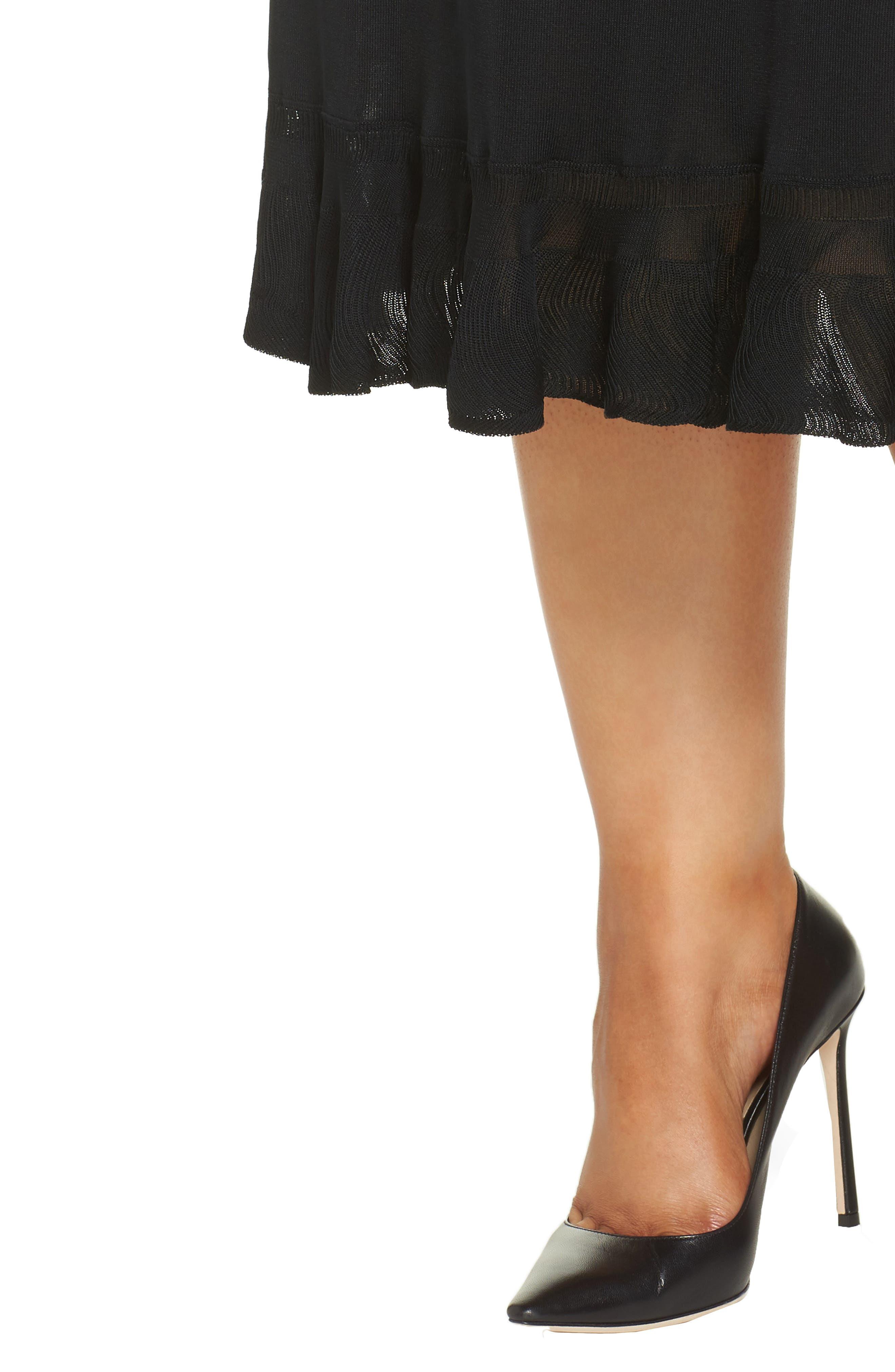 MING WANG,                             Ruffle Hem Skirt,                             Alternate thumbnail 4, color,                             BLACK