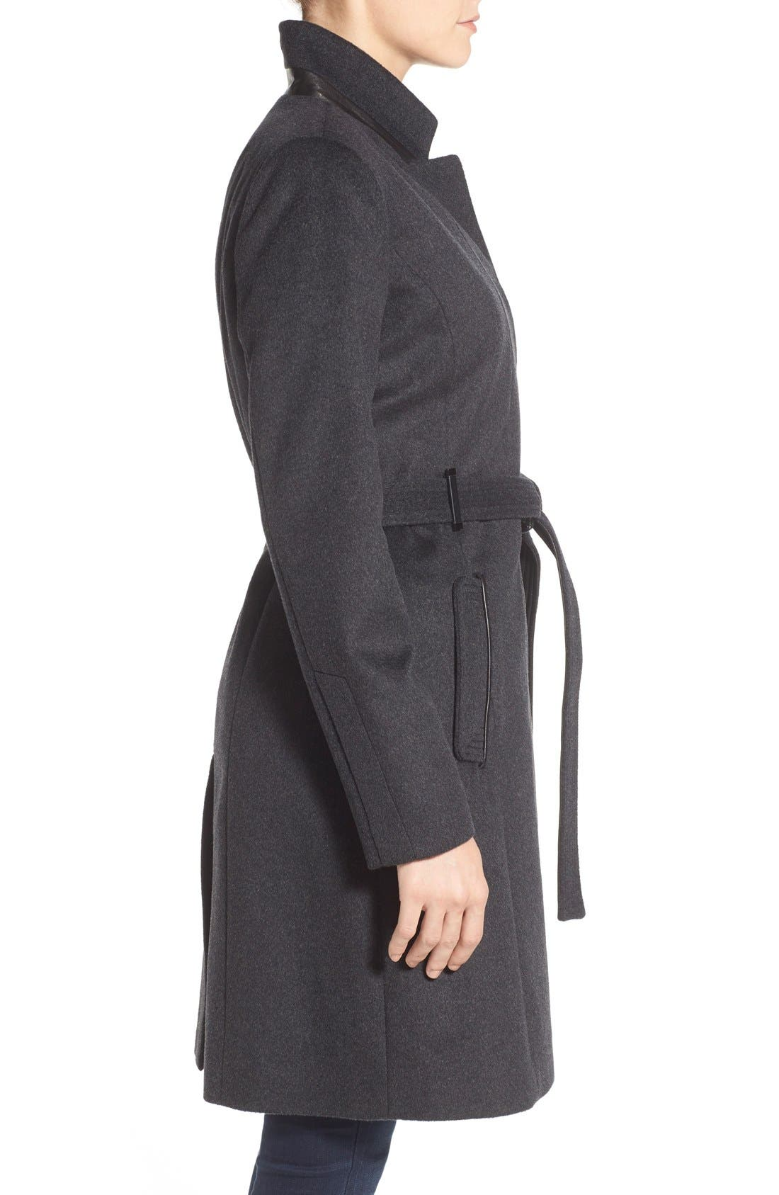 Badgley Mischka 'Ivana' Long Belted Inverted Collar Coat,                             Alternate thumbnail 3, color,                             020