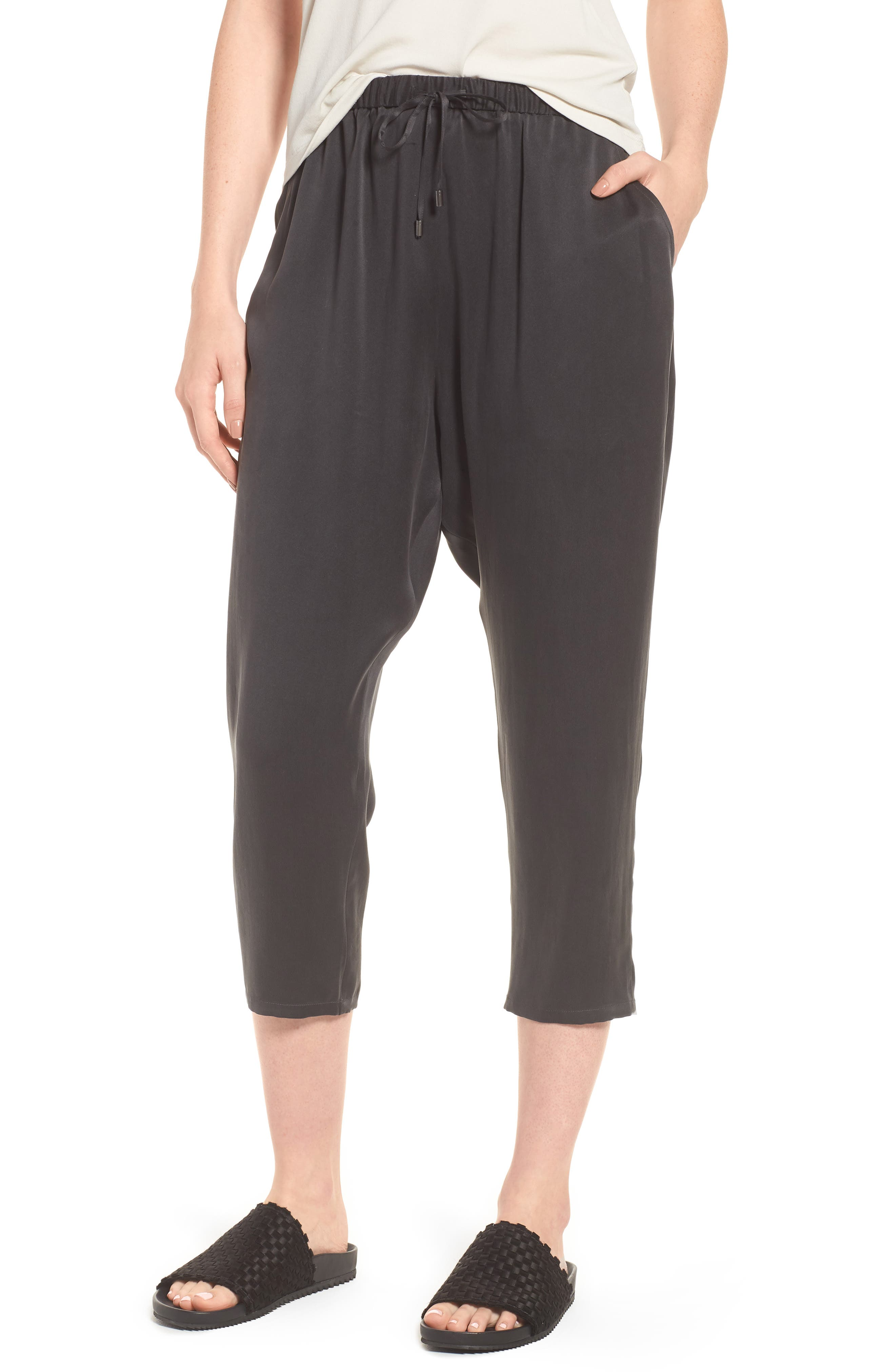 EILEEN FISHER Slouchy Silk Crop Pants, Main, color, 025