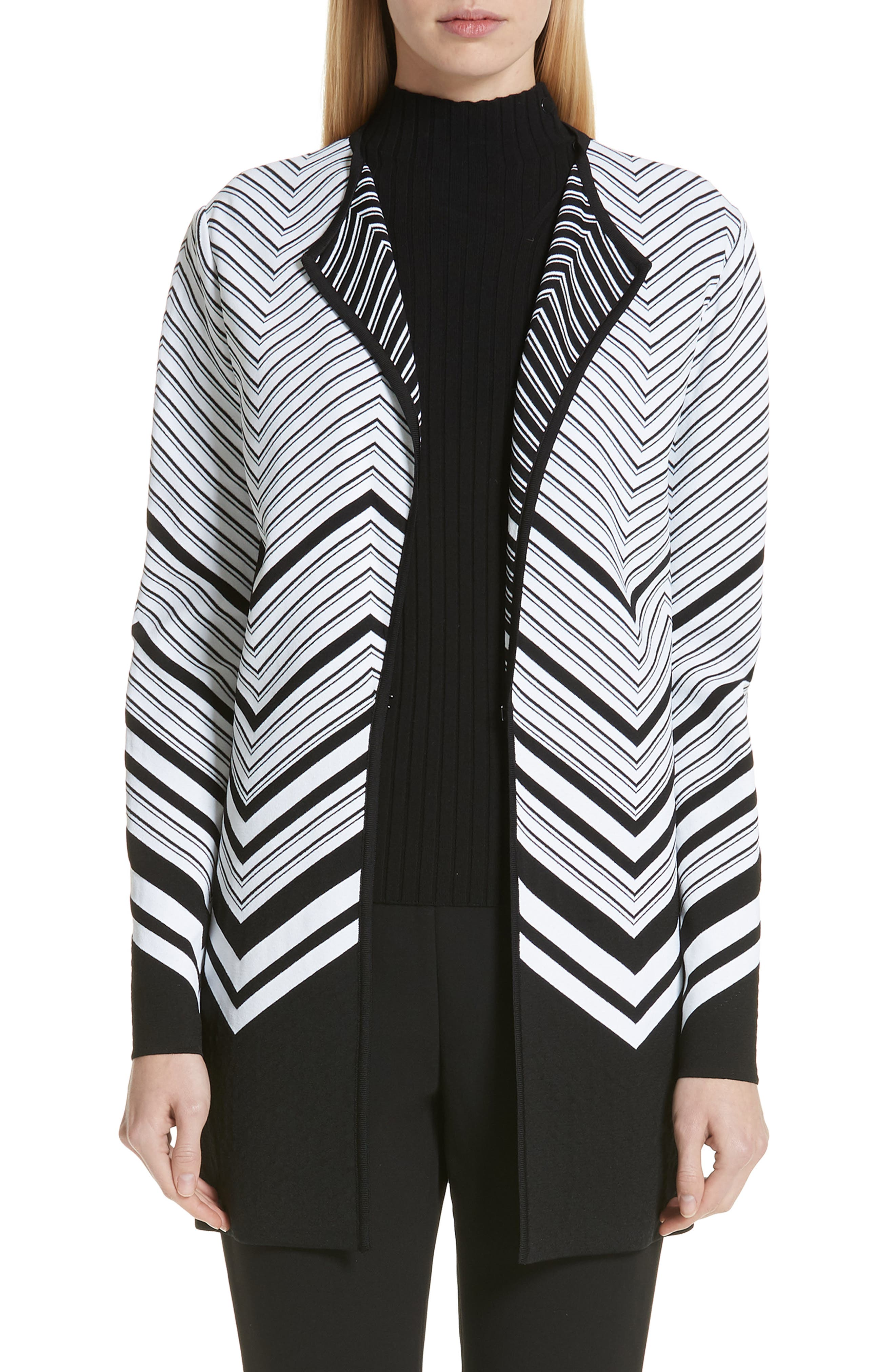 Chevron Jacquard Sweater Jacket, Main, color, CAVIAR/ WHITE