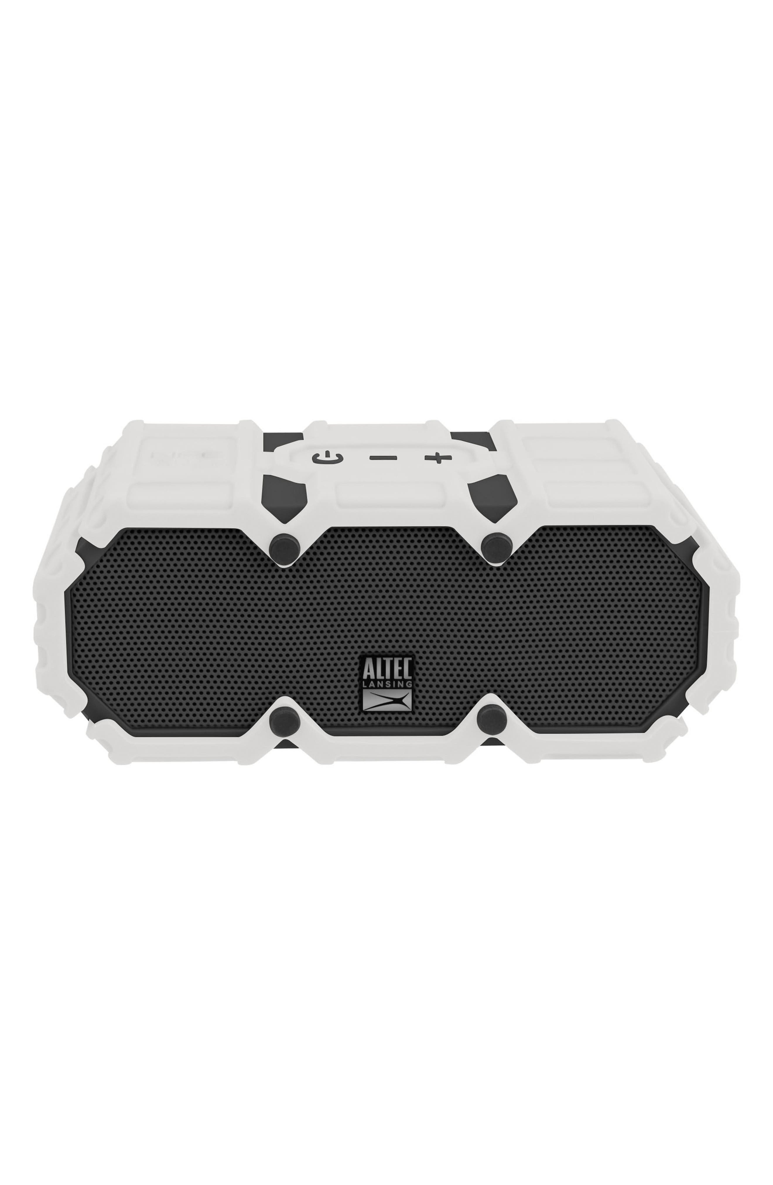 Mini Lifejacket S3 Waterproof Wireless Speaker,                             Main thumbnail 1, color,                             WHITE/ GRAPHITE