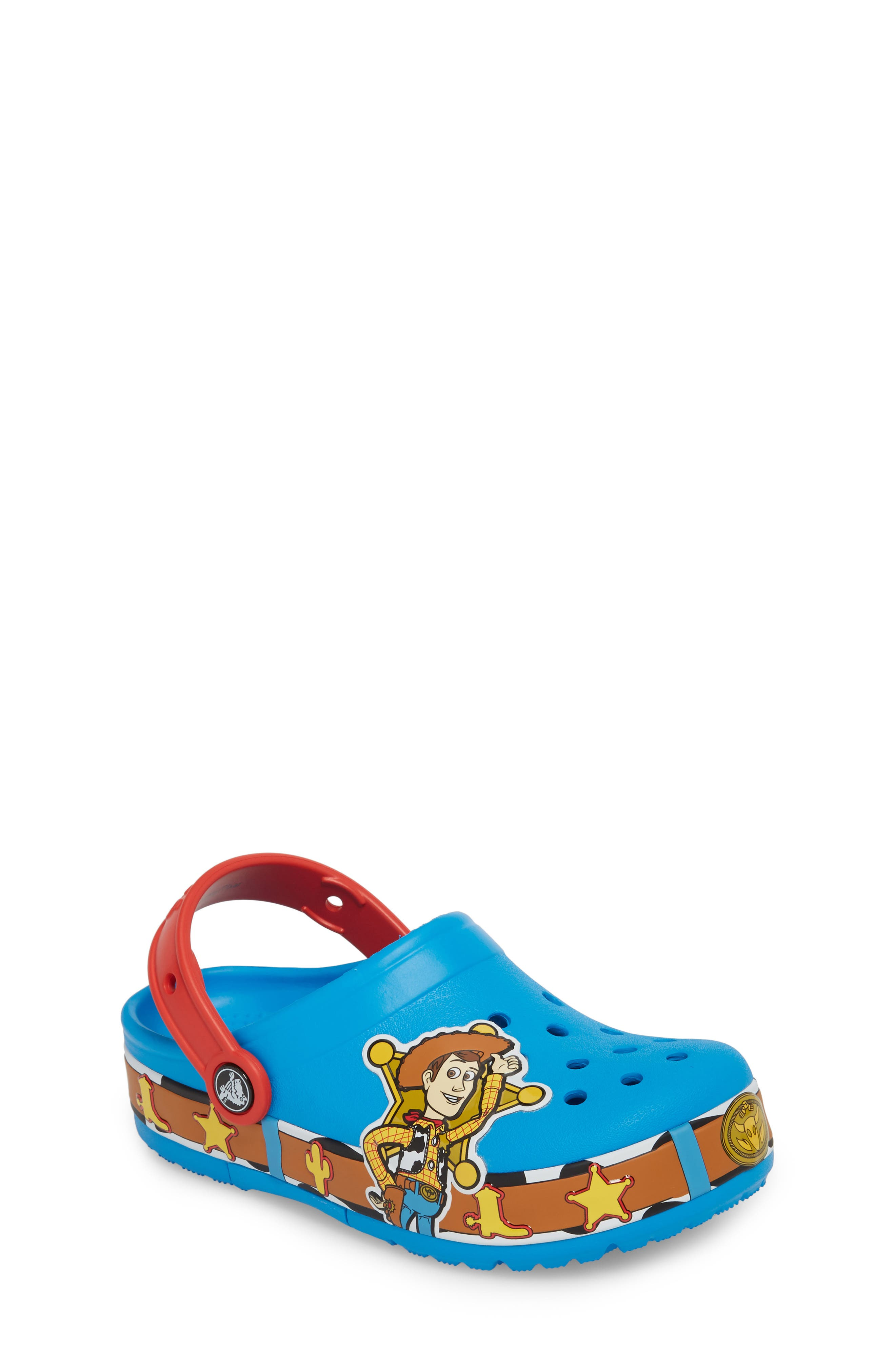 Disney Toy Story - Woody Crocband Light-Up Slip-On,                             Main thumbnail 1, color,                             456