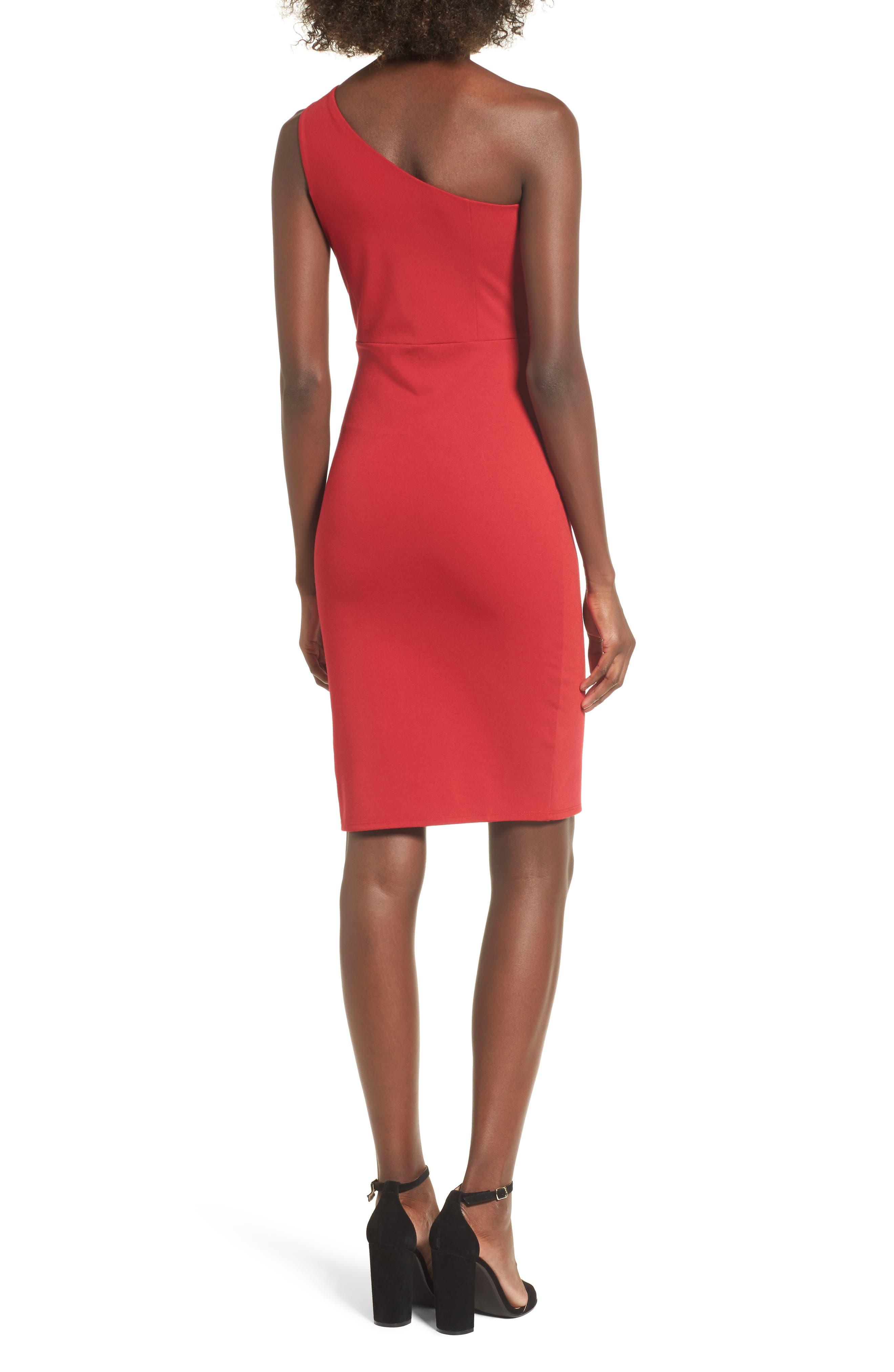 One-Shoulder Body-Con Dress,                             Alternate thumbnail 6, color,