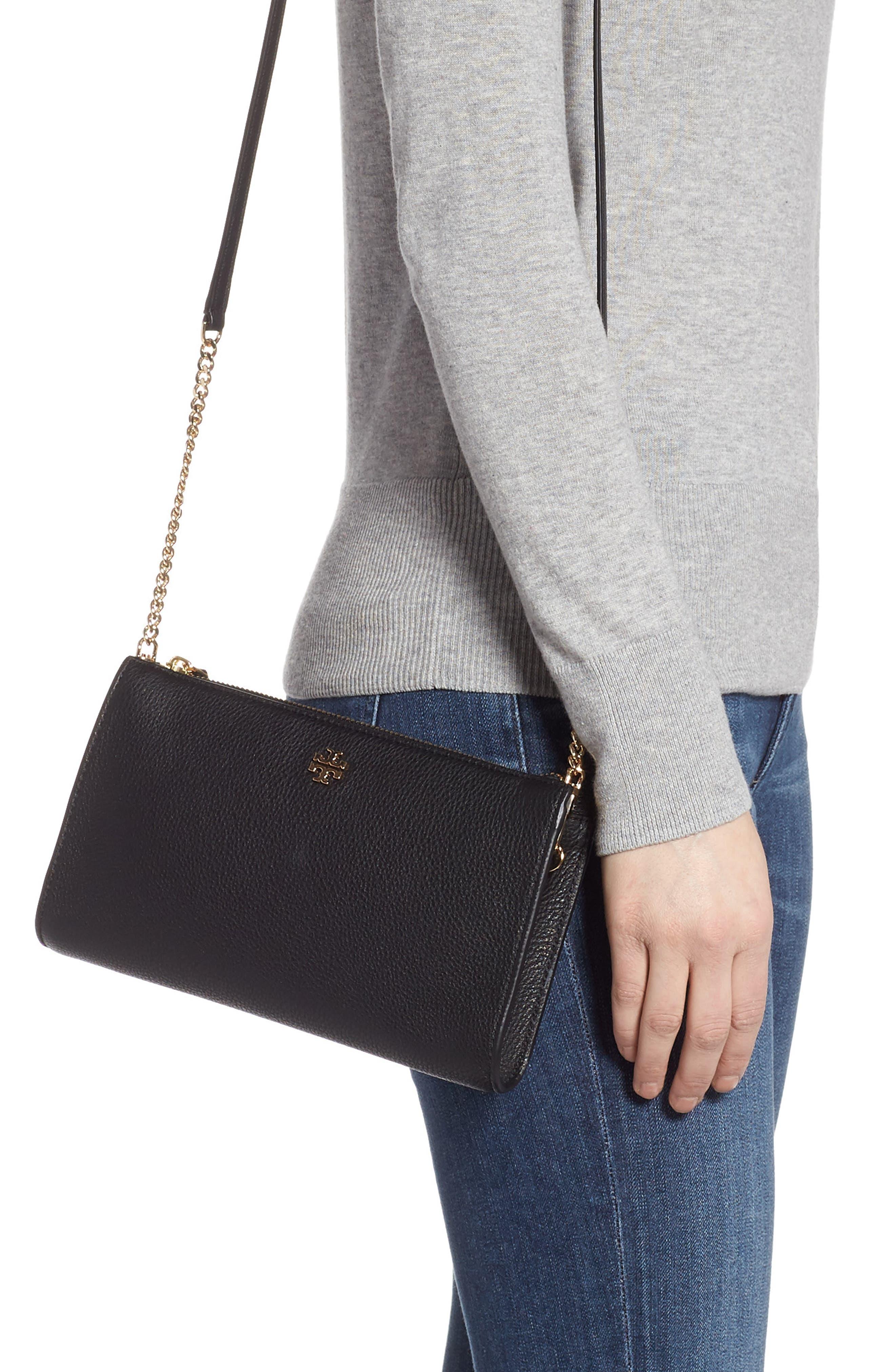TORY BURCH,                             Pebbled Leather Top Zip Crossbody Bag,                             Alternate thumbnail 2, color,                             BLACK