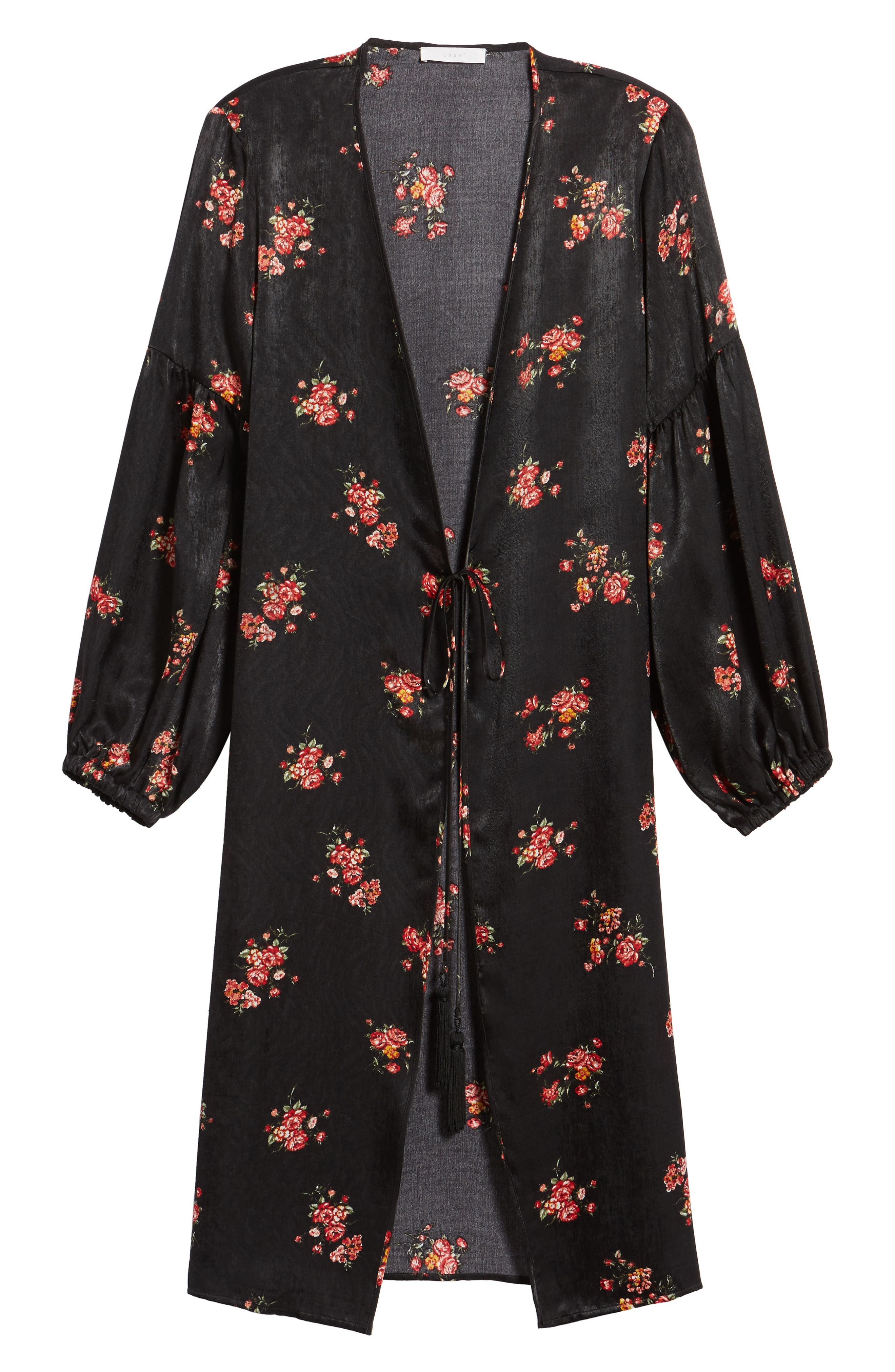 Tie Front Floral Print Duster,                             Alternate thumbnail 5, color,                             001