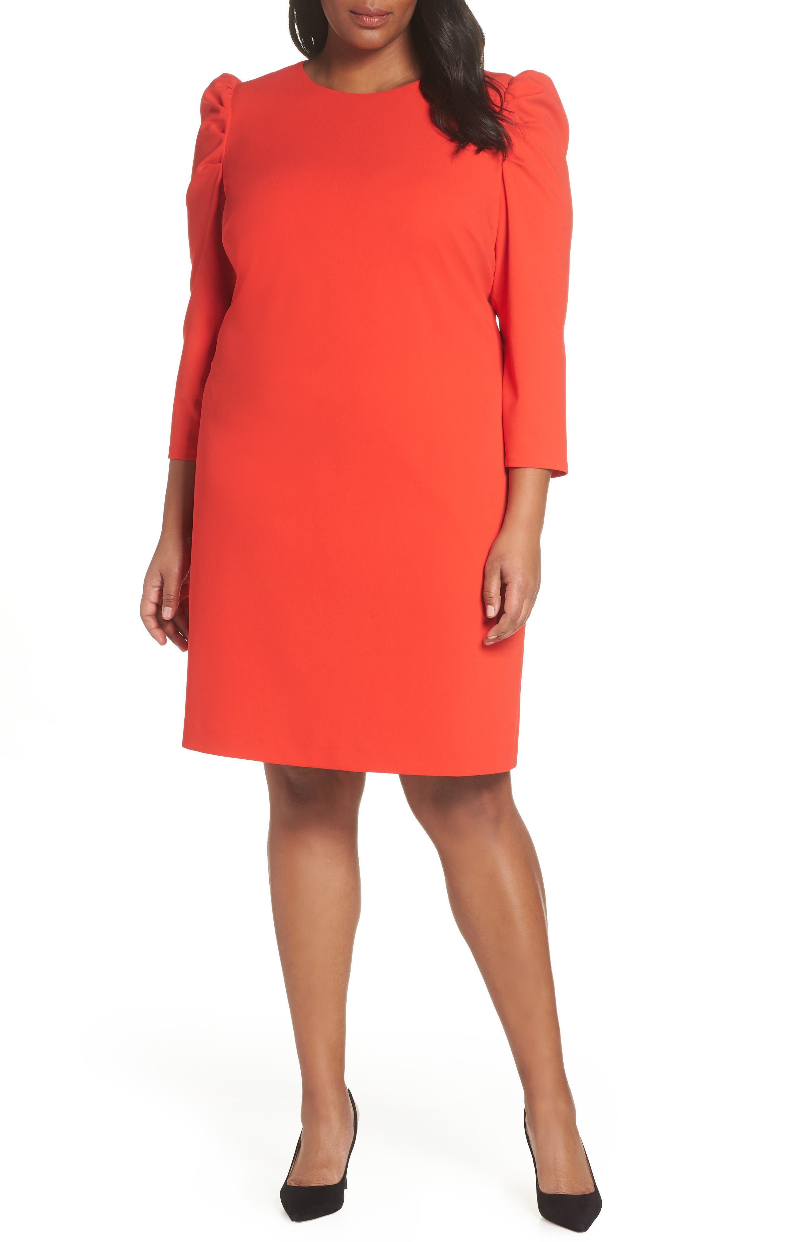 Plus Size Vince Camuto Puff Shoulder Shift Dress, Red