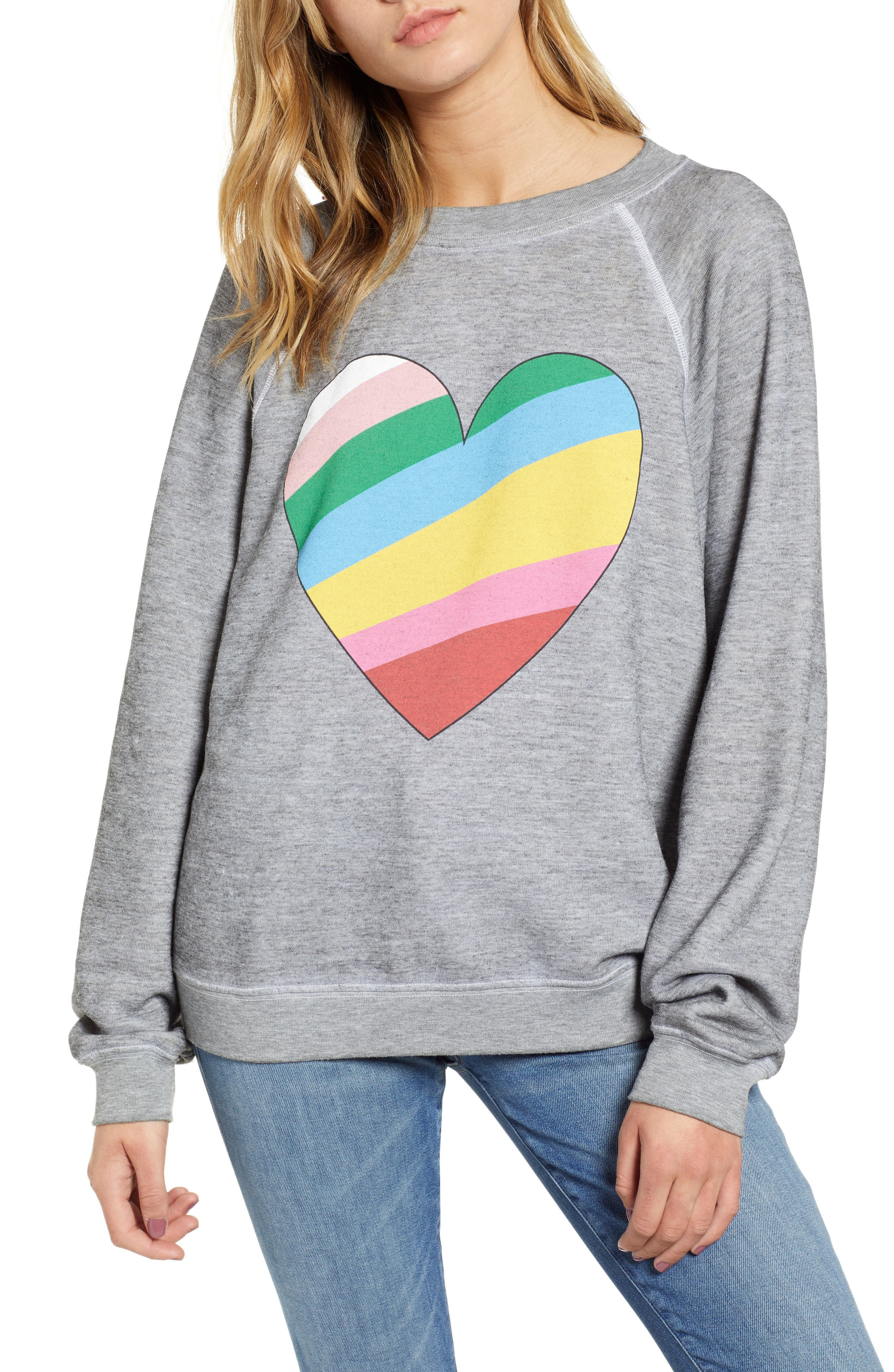Sommers Love Hearts Sweatshirt,                         Main,                         color, HEATHER