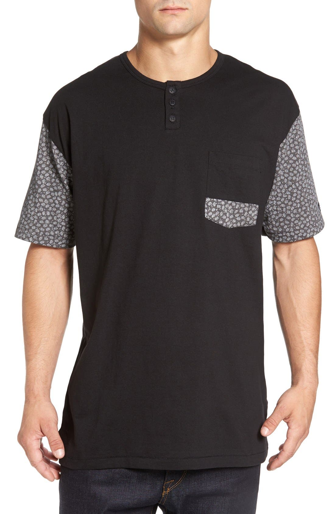 'Harper' Short Sleeve Pocket Henley T-Shirt,                         Main,                         color, 001