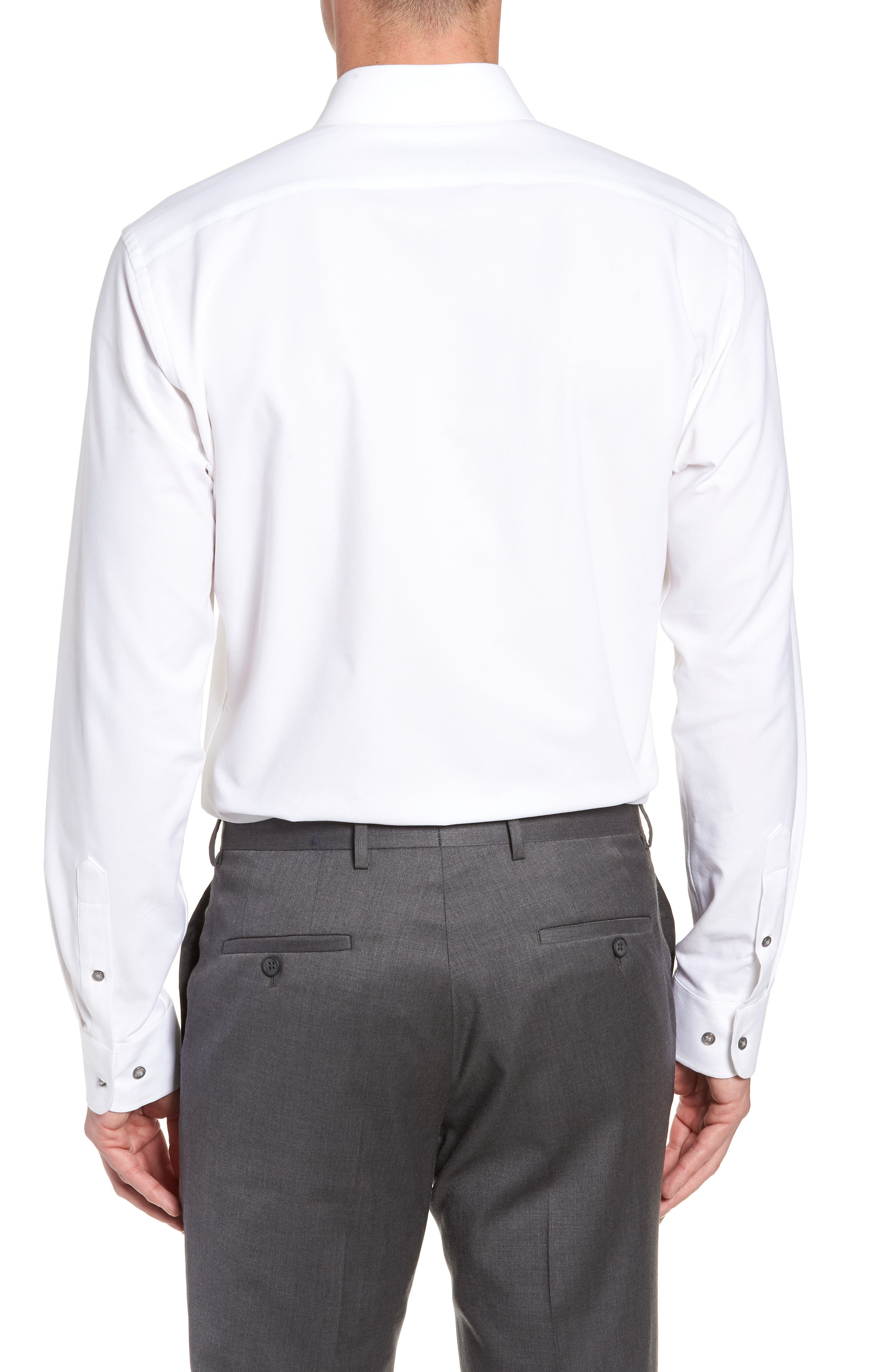 Tech-Smart Trim Fit Stretch Texture Dress Shirt,                             Alternate thumbnail 3, color,                             WHITE