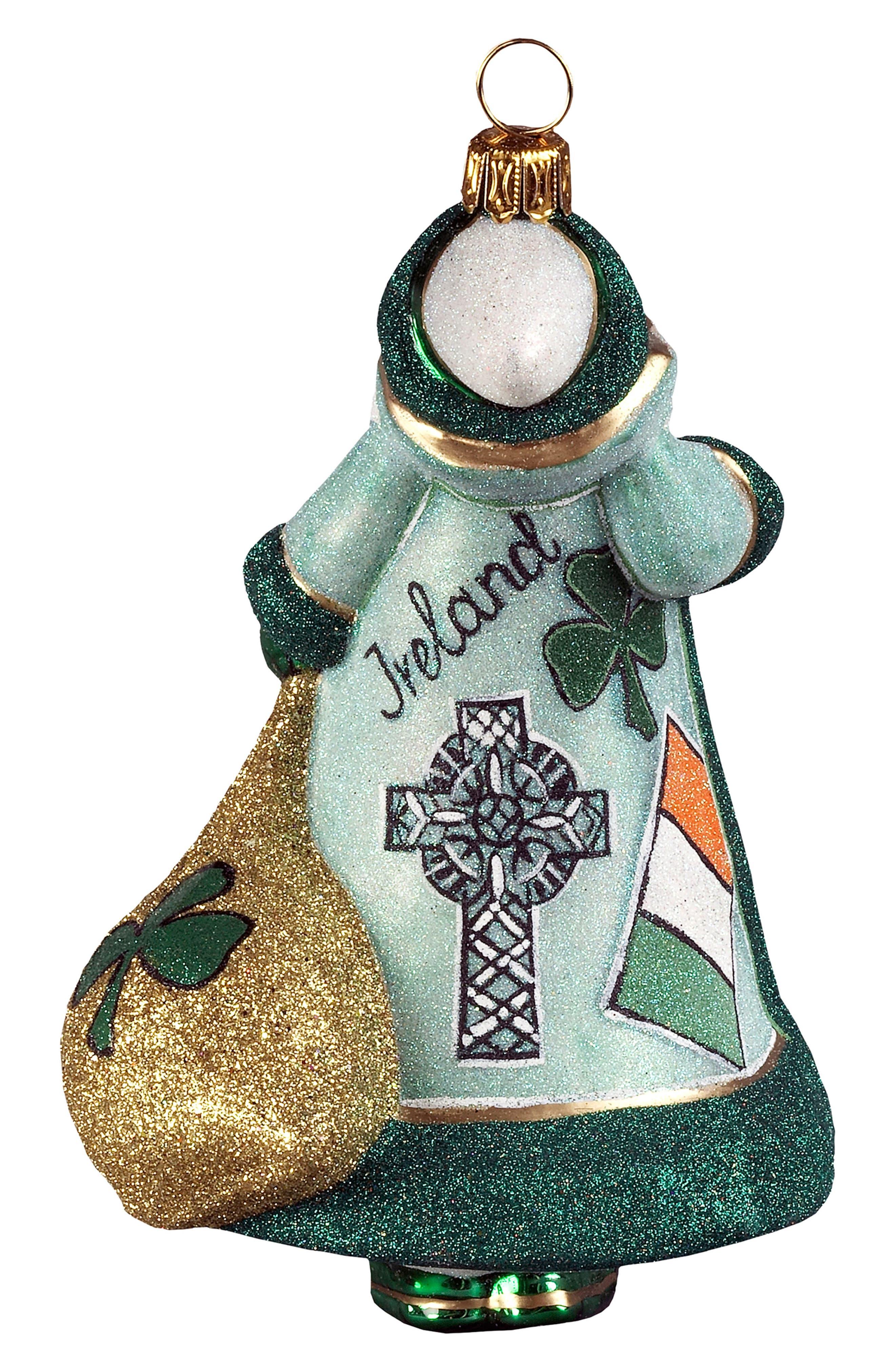 Glitterazzi Ireland Santa Ornament,                             Alternate thumbnail 2, color,                             GREEN