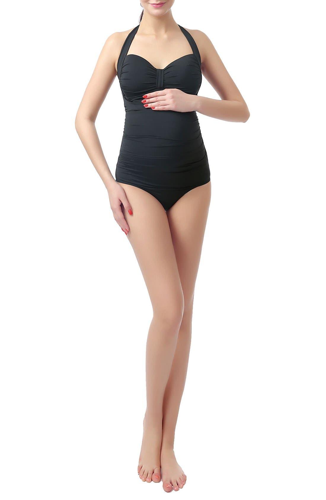 'Dana' Maternity One-Piece Halter Swimsuit,                             Main thumbnail 1, color,                             BLACK