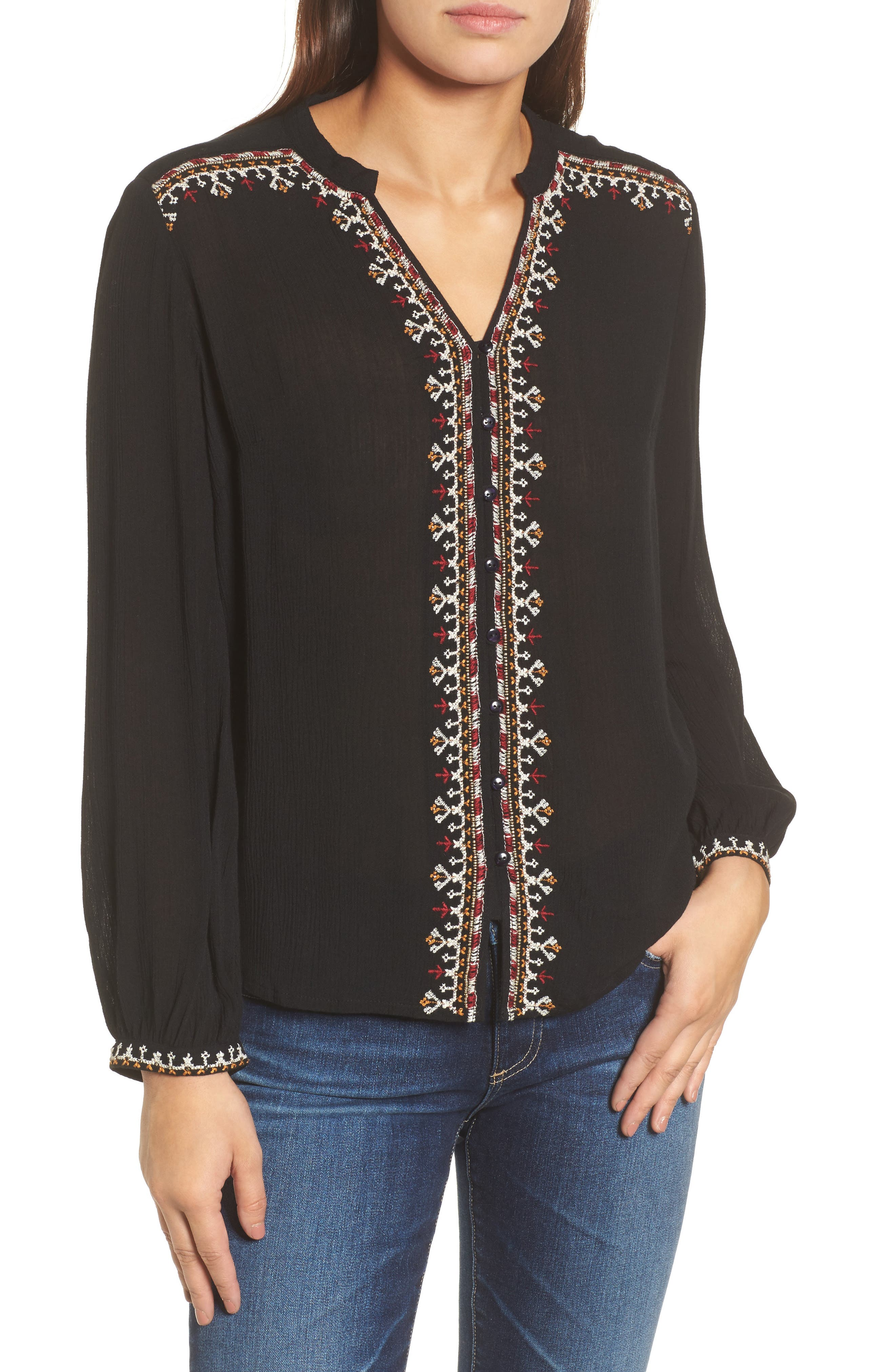 Embroidered Top,                         Main,                         color, 001