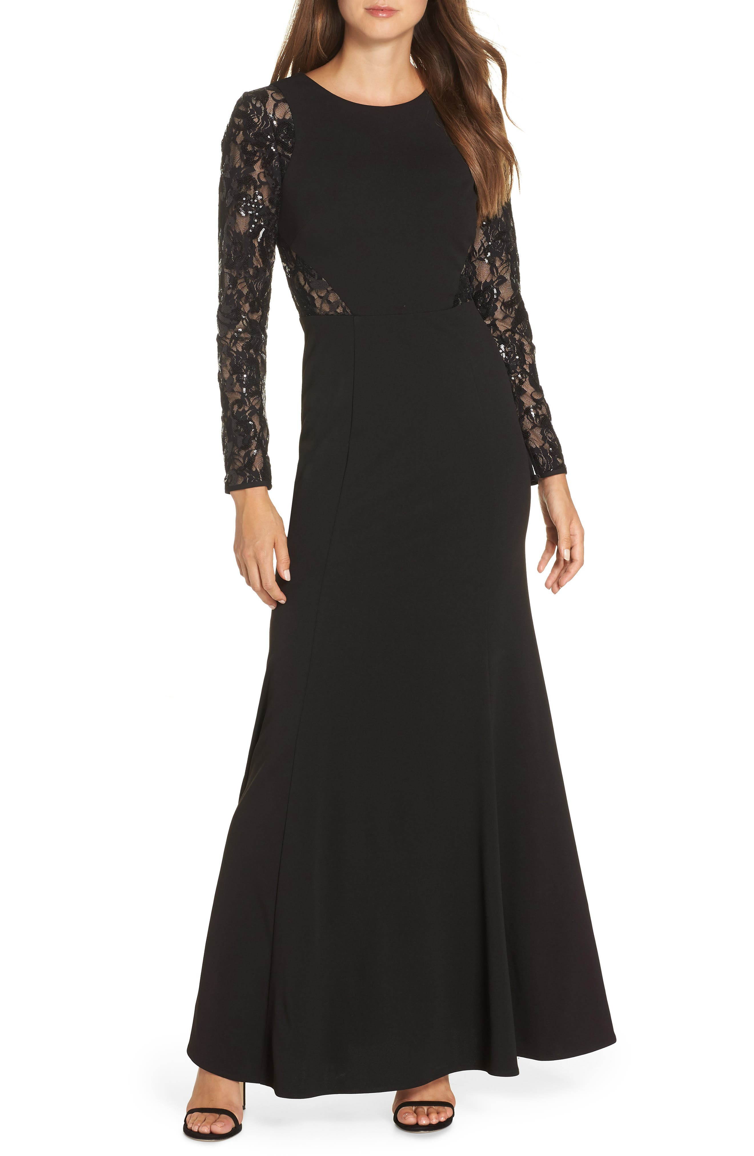 Embellished Lace Gown,                             Main thumbnail 1, color,                             BLACK