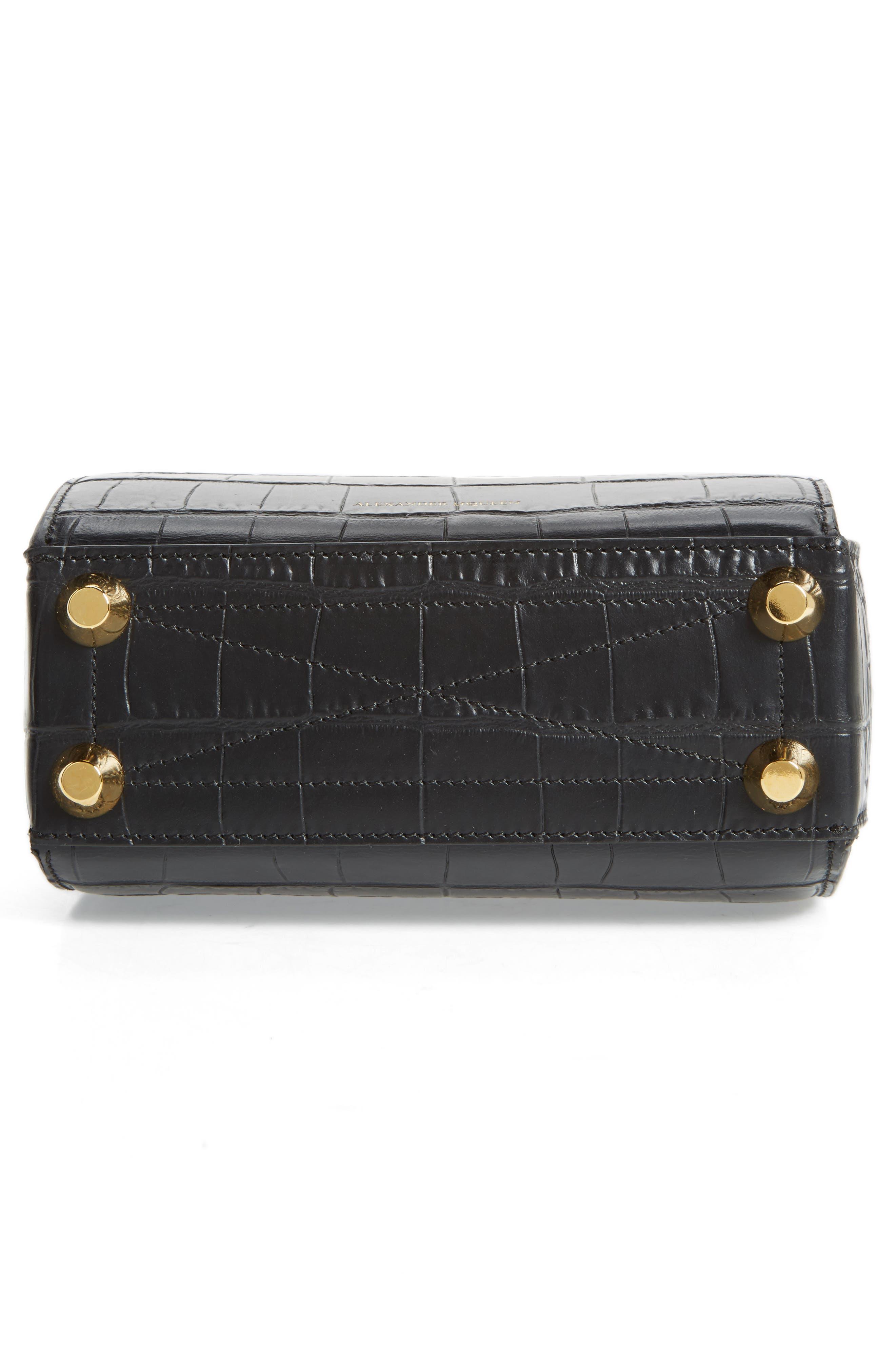 Box Bag 19 Croc Embossed Leather Bag,                             Alternate thumbnail 6, color,                             BLACK