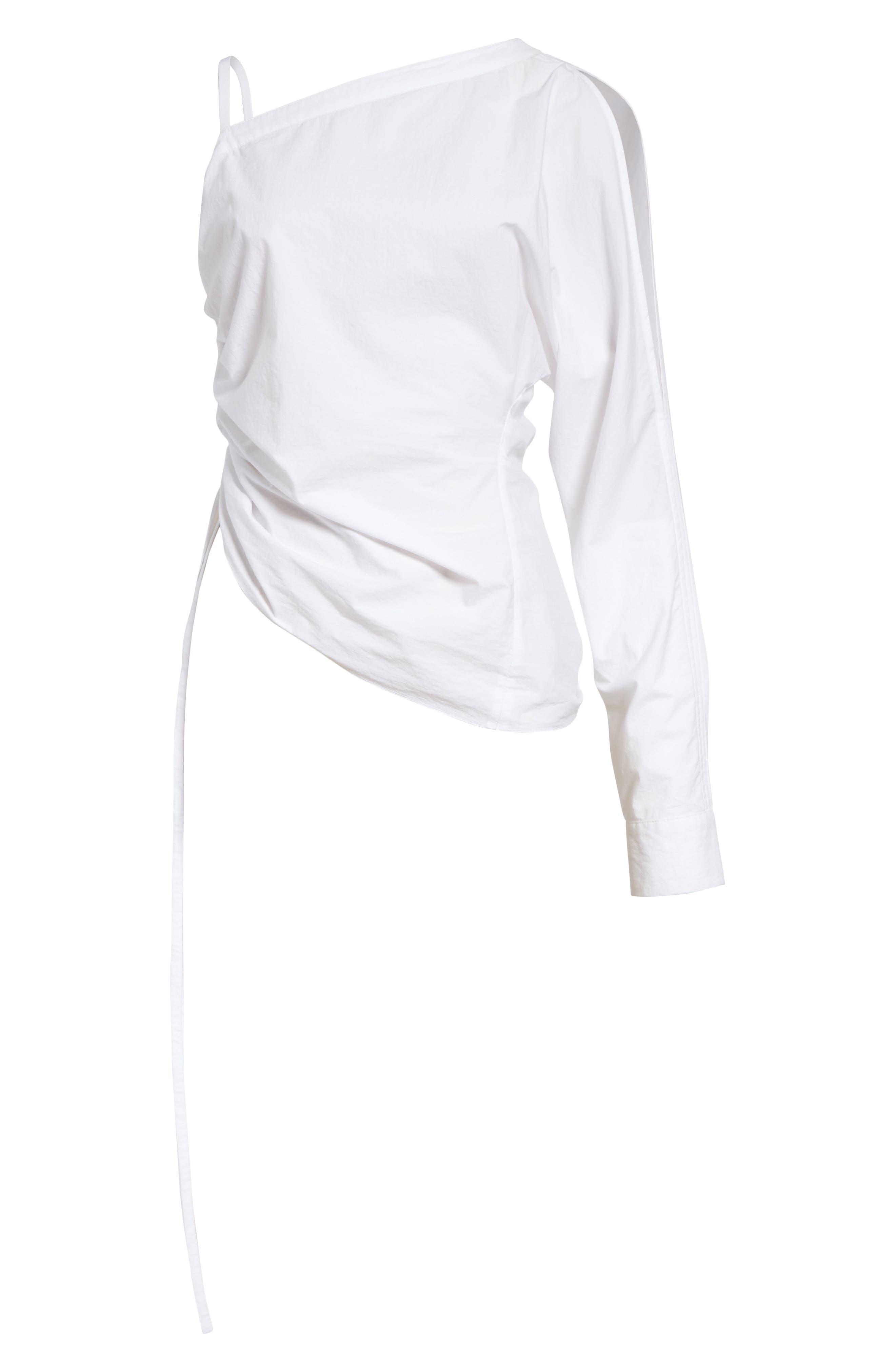 Cotton Poplin One-Shoulder Top,                             Alternate thumbnail 6, color,                             100