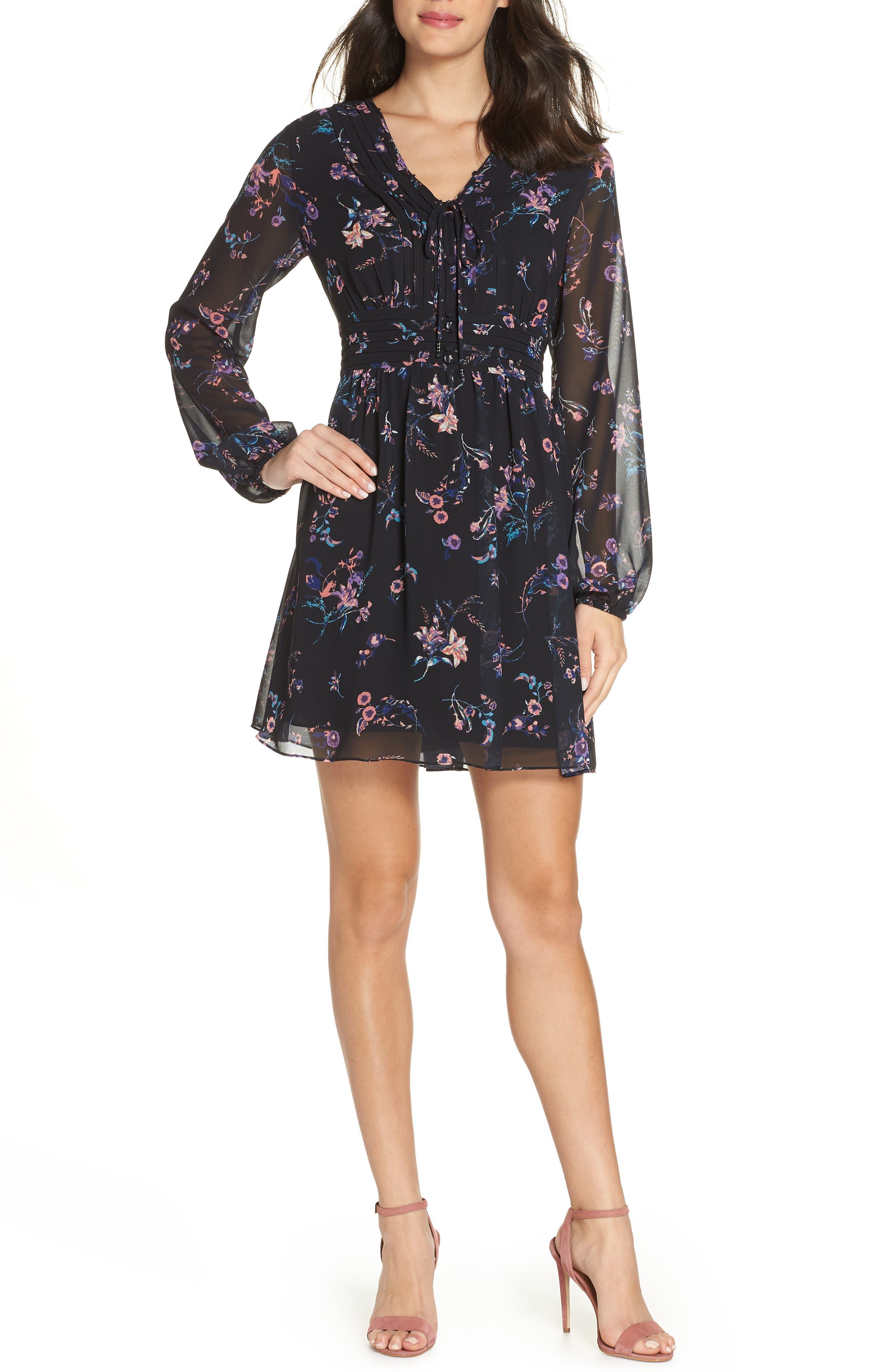 SAM EDELMAN Floral Print Dress, Main, color, 004