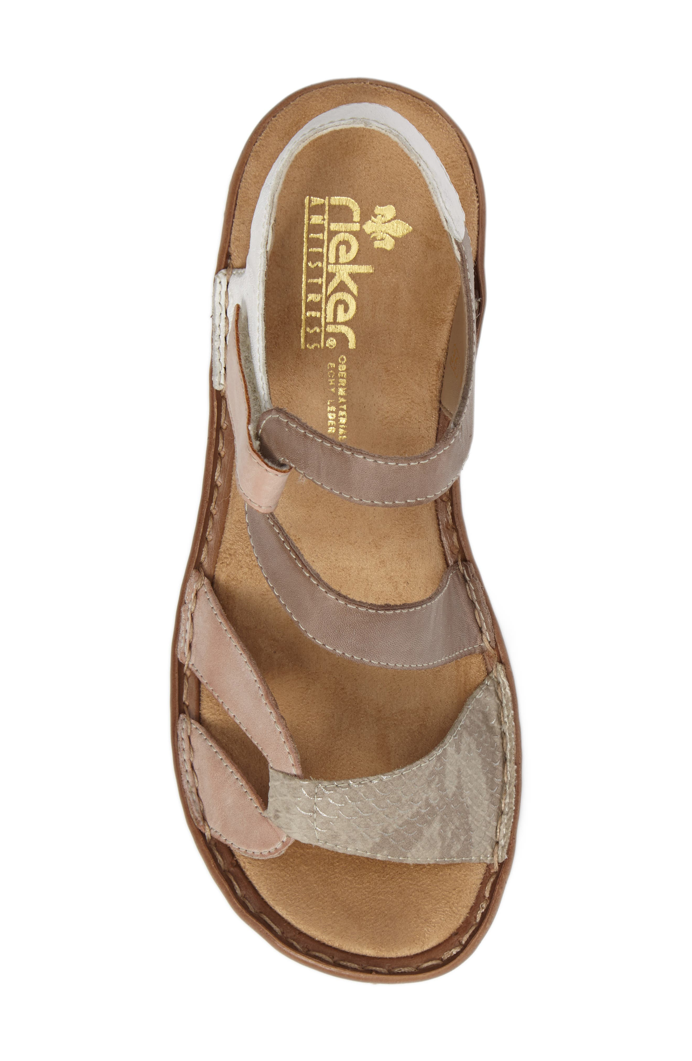 Regina 66 Wedge Sandal,                             Alternate thumbnail 5, color,                             ROSE LEATHER