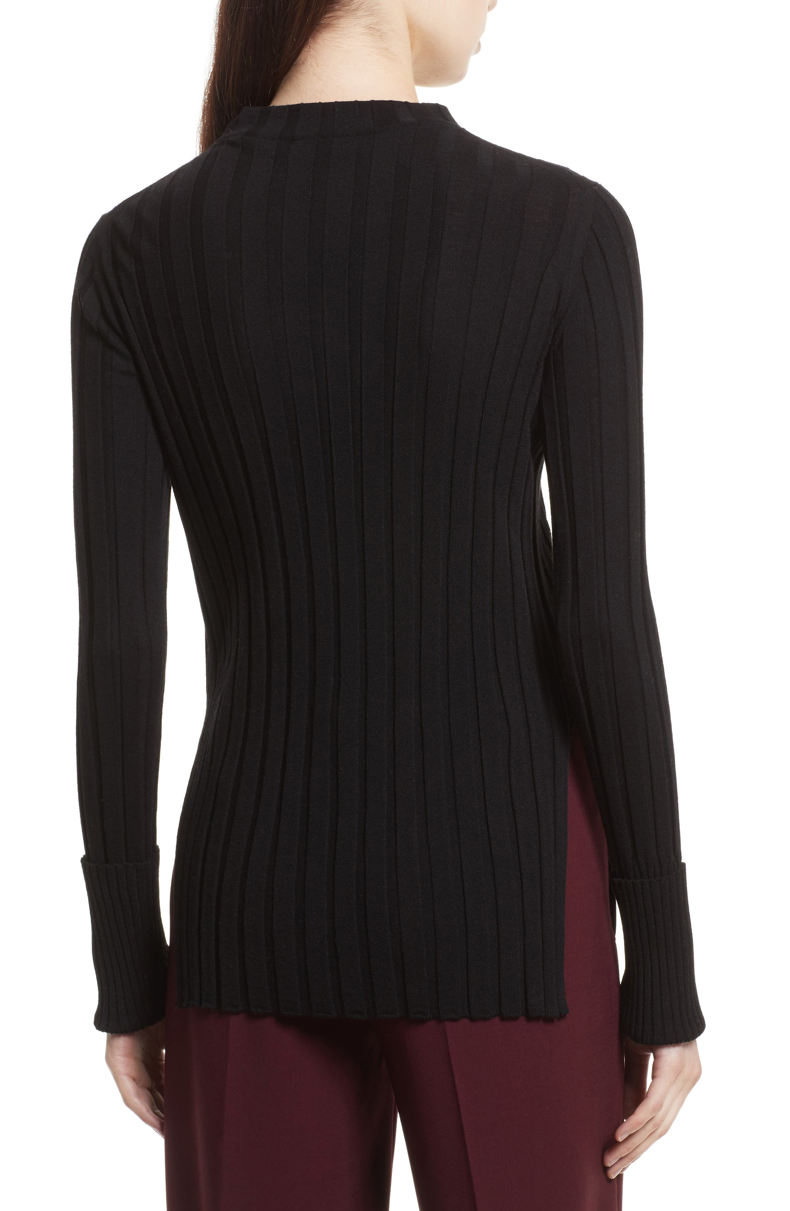 Wide Ribbed Mock Neck Wool Sweater,                             Alternate thumbnail 2, color,                             001