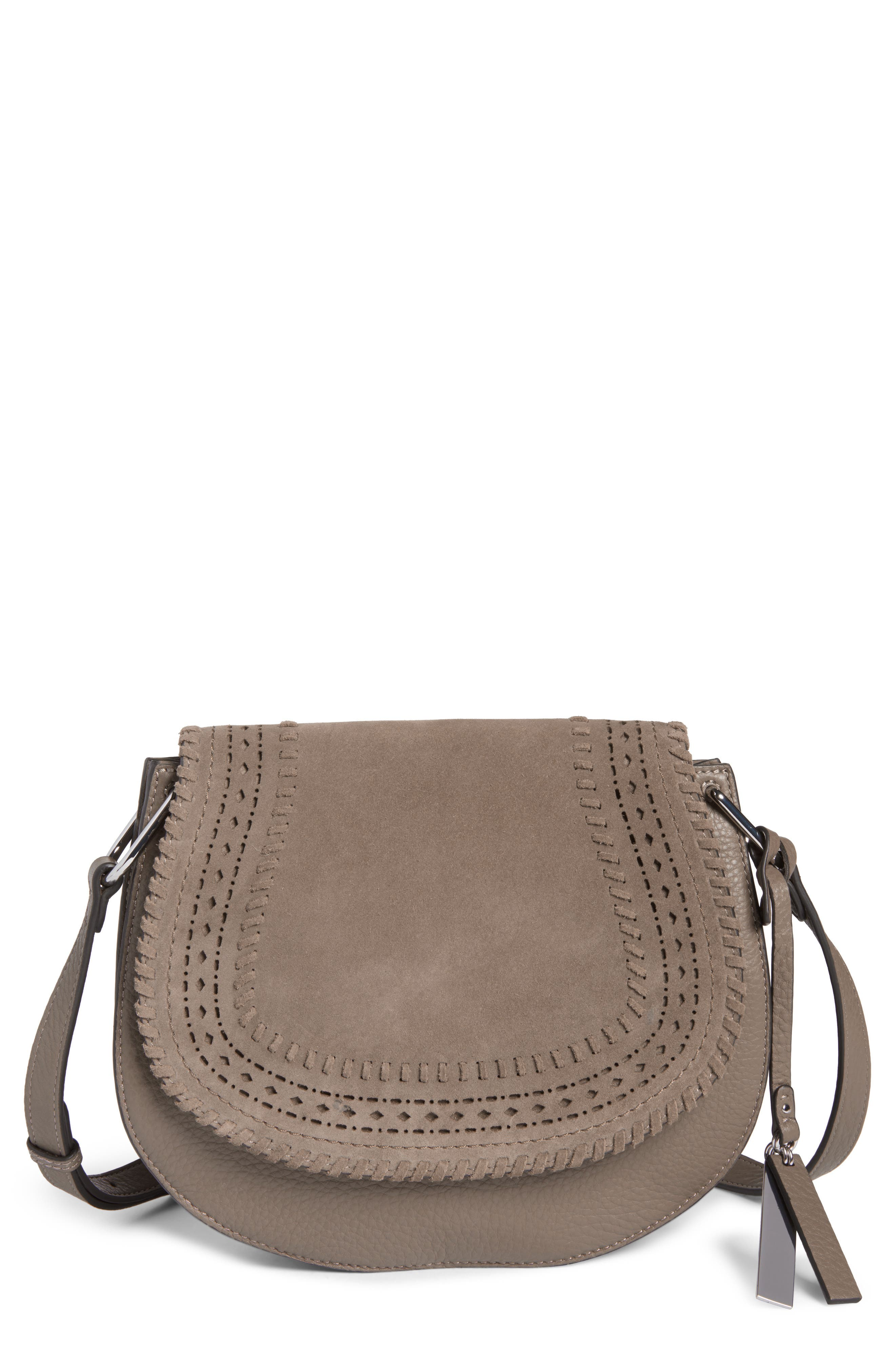 Kirie Suede & Leather Crossbody Saddle Bag,                         Main,                         color, 020