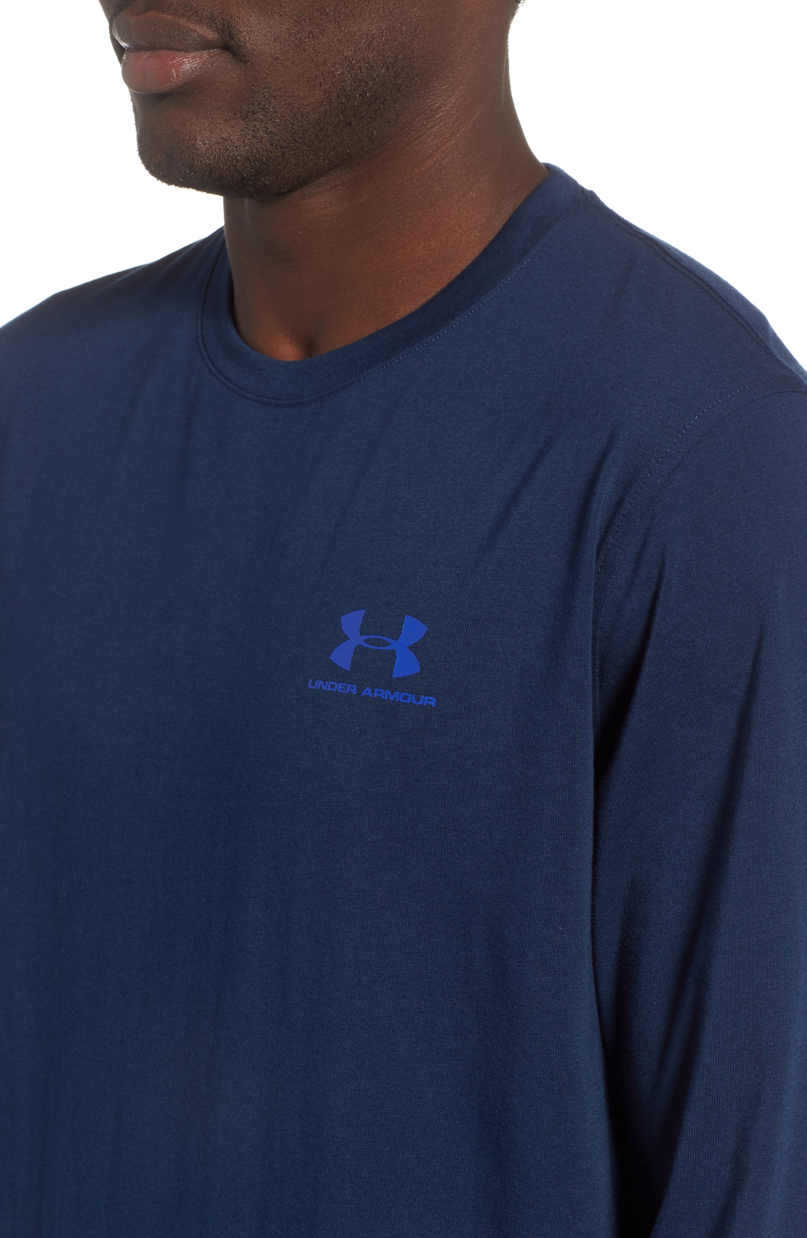 HeatGear<sup>®</sup> Long Sleeve Performance T-Shirt,                             Alternate thumbnail 4, color,                             ACADEMY/ ROYAL